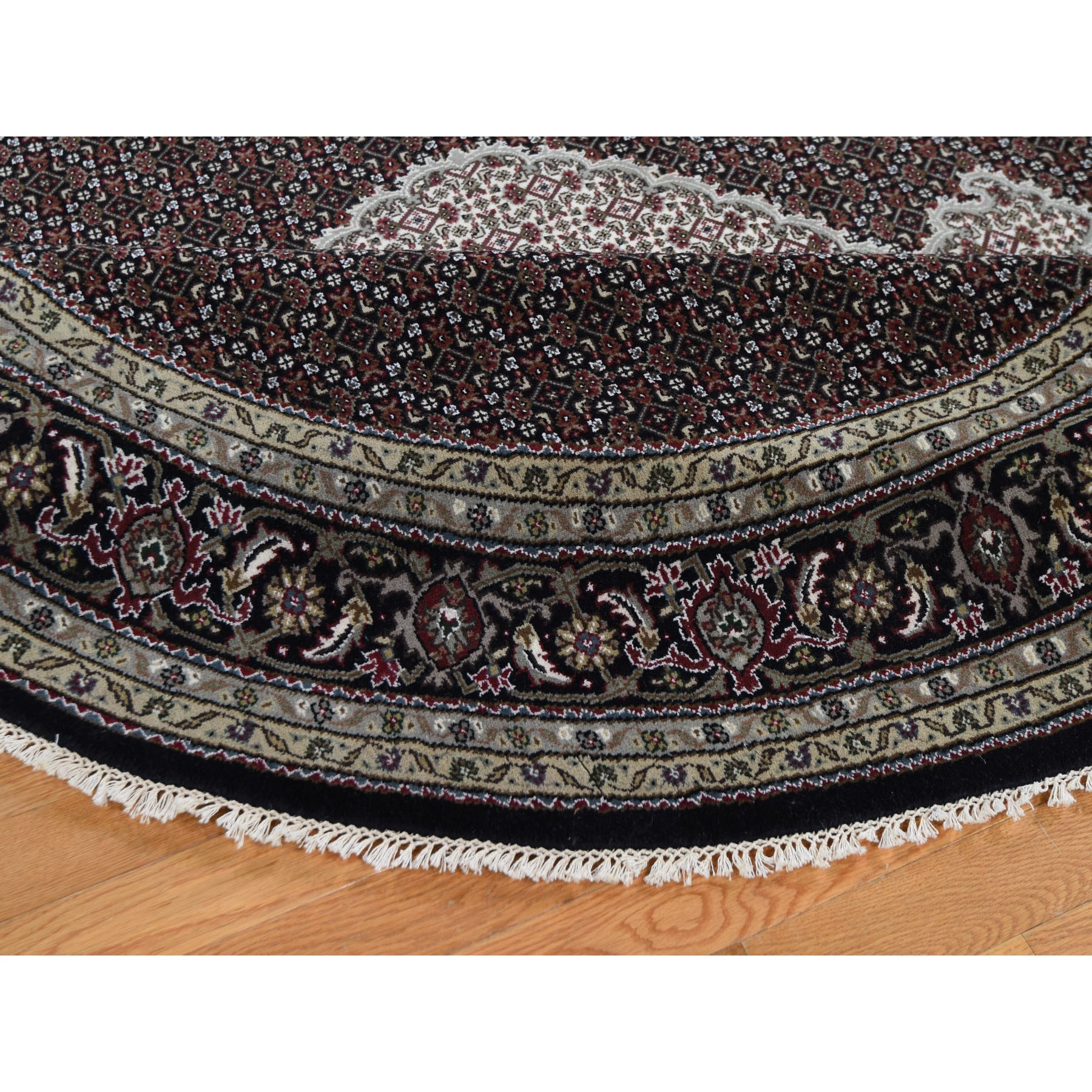 "7'9""x7'9"" Black Wool And Silk Tabriz Mahi Design Round Hand Knotted Oriental Rug"
