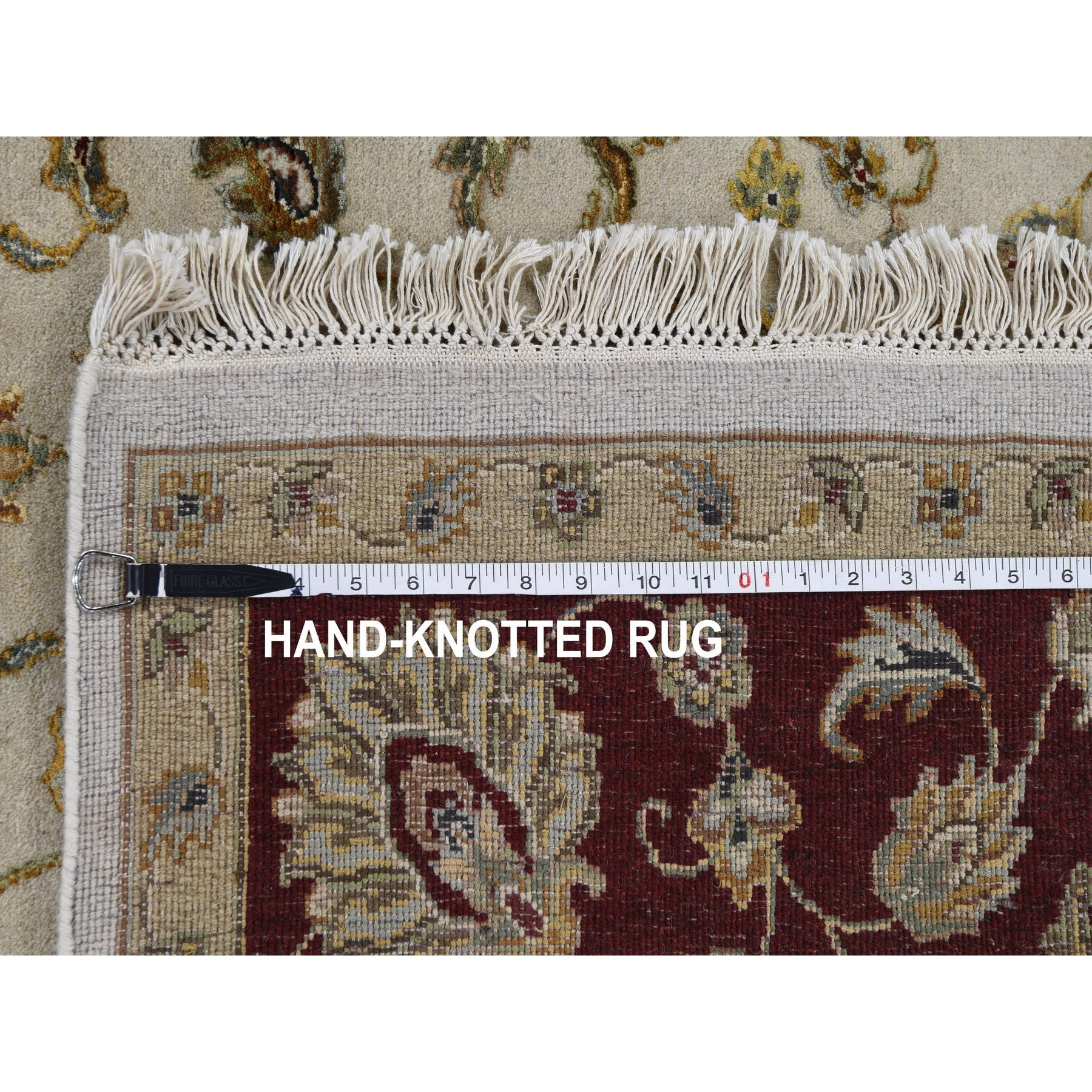 "6'x9'2"" Gray Half Wool And Half Silk Rajasthan Hand Knotted Oriental Rug"