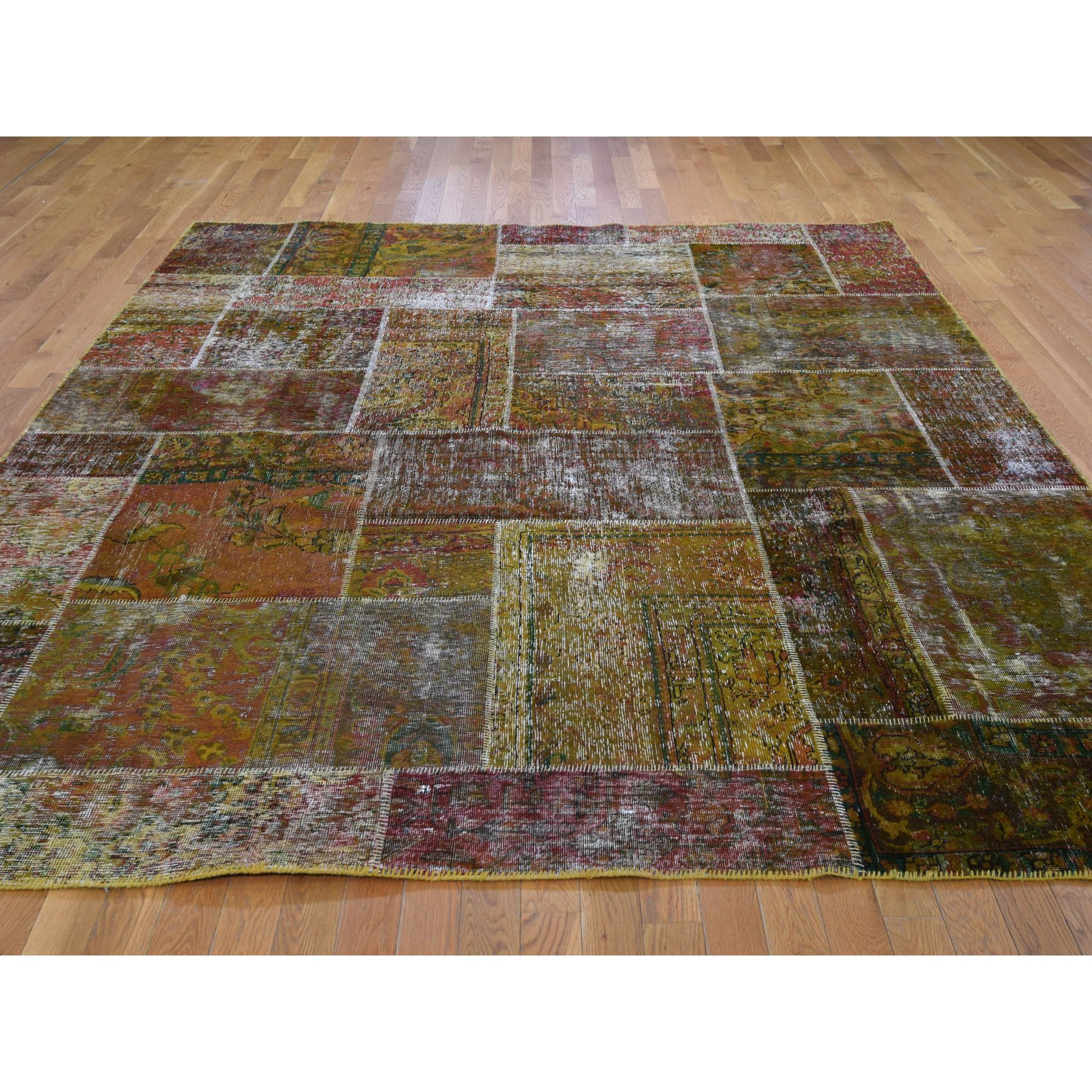 8-x9-9  Pure Wool Overdyed Patchwork Vintage Hand Knotted  Oriental Rug