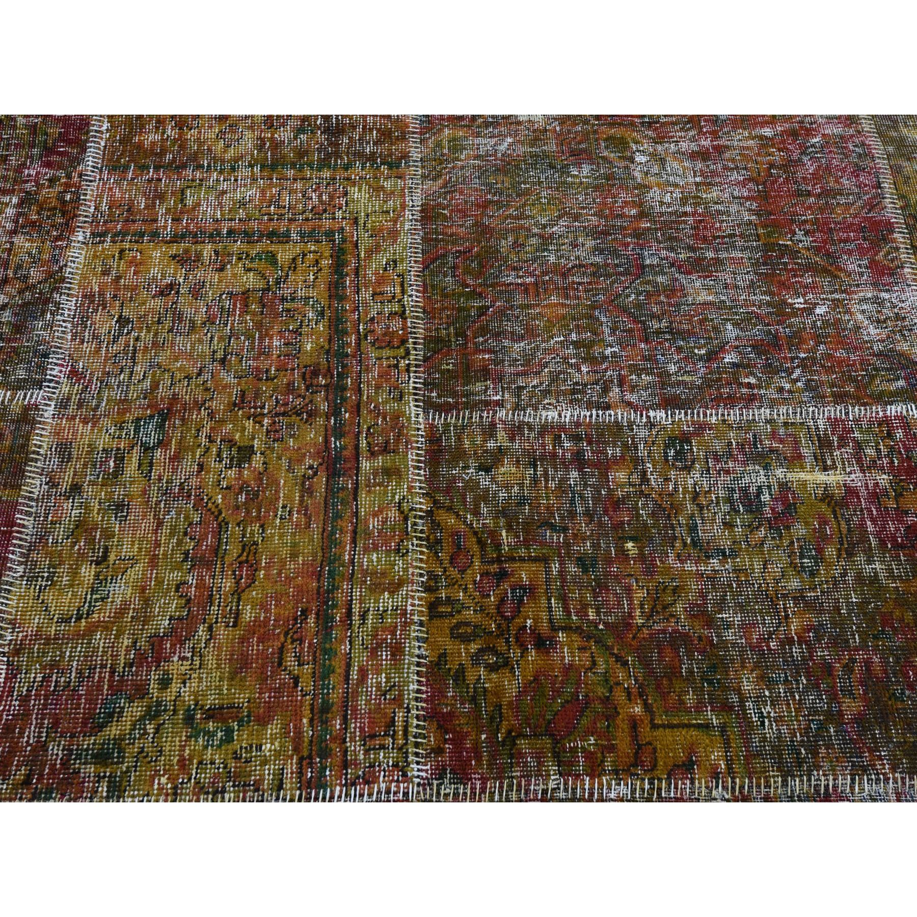"8'x9'9"" Pure Wool Overdyed Patchwork Vintage Hand Knotted  Oriental Rug"