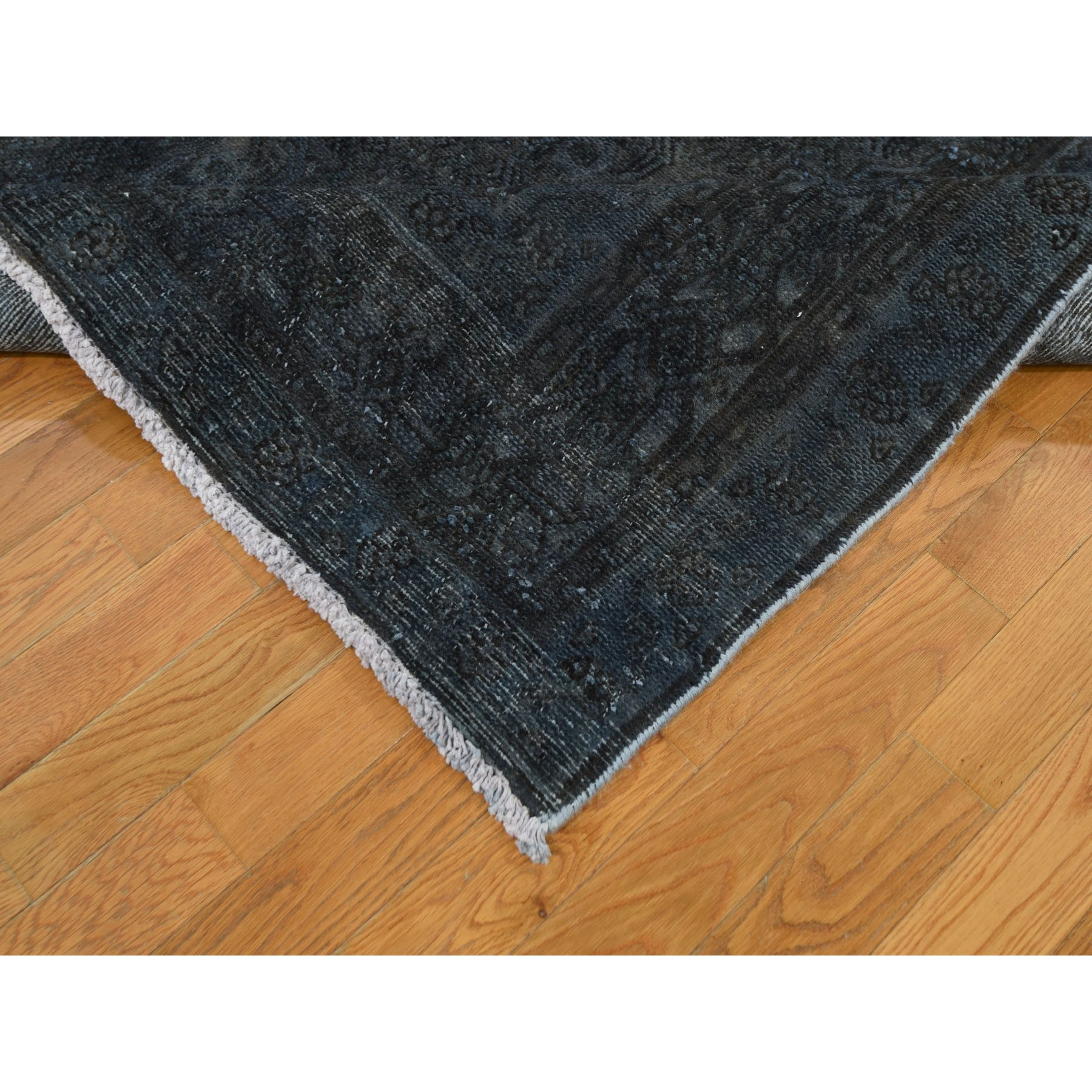 "7'x10'2"" Charcoal Gray Overdyed Tabriz Sheared Low Hand Knotted Tribal Oriental Rug"