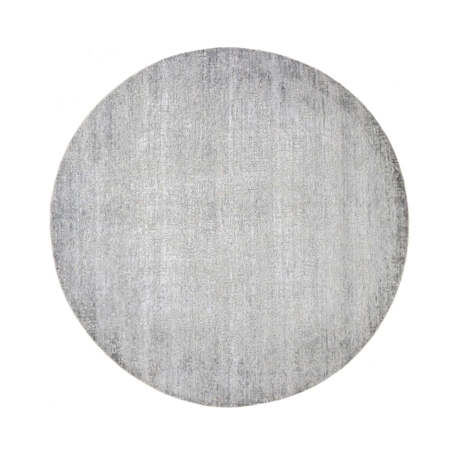 8'X8' Gray Round Tone On Tone Wool And Silk Hand Knotted Oriental Rug moad8b8b