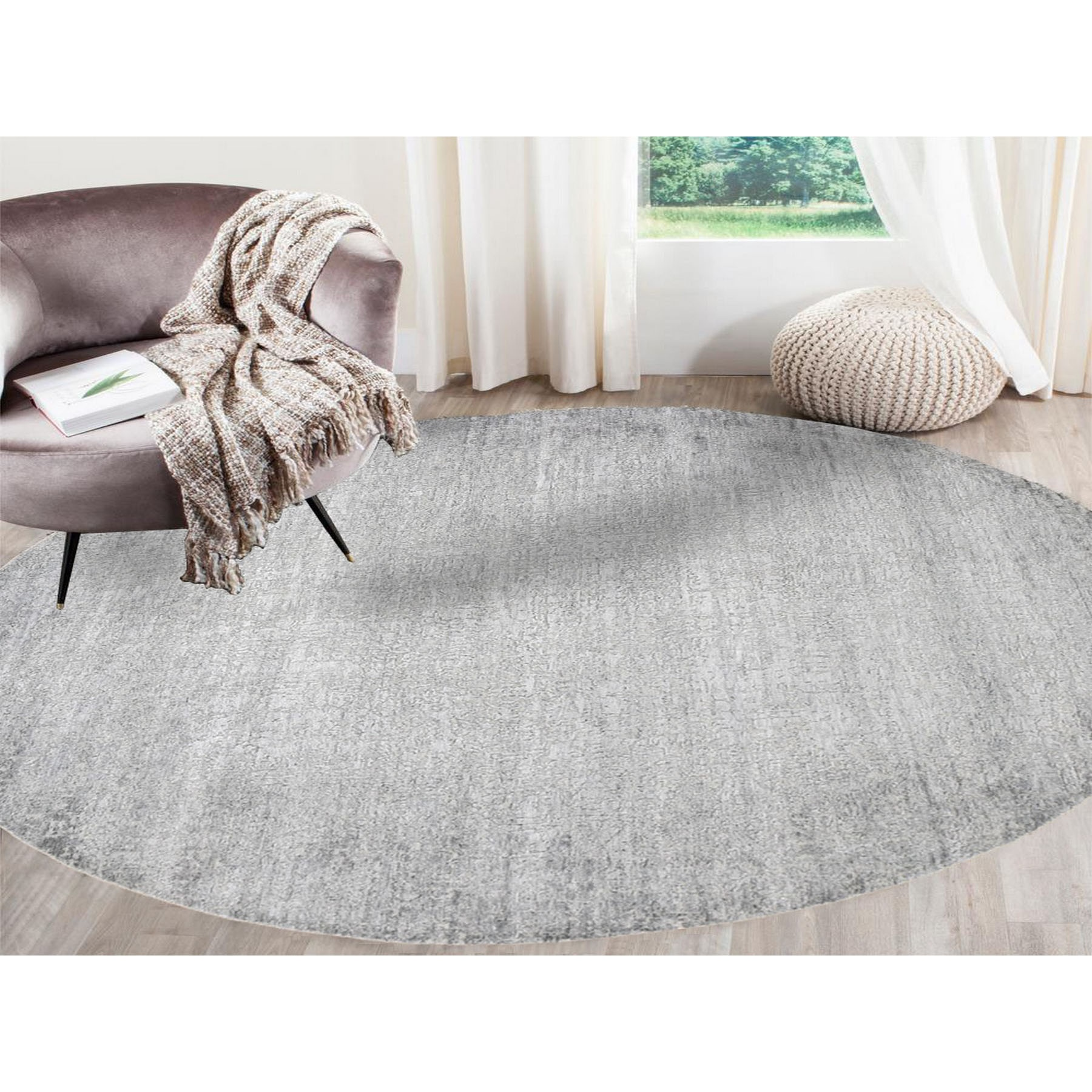 8'x8' Gray Round Tone On Tone Wool And Silk Hand Knotted Oriental Rug