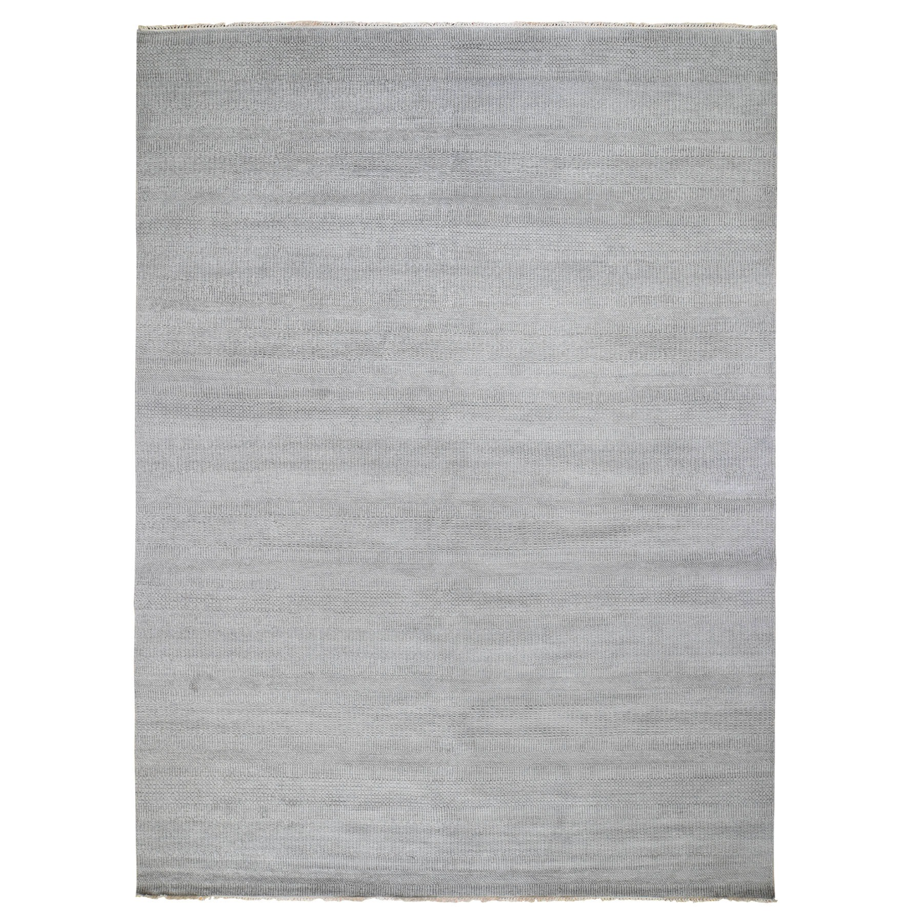 "9'2""x12'3"" Gray Wool and Silk Grass Design Thick And Plush Hand Knotted Oriental Rug"