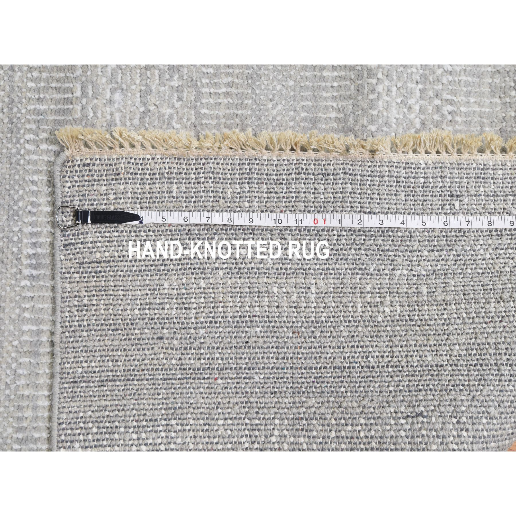 """9'2""""x11'9"""" Gray Wool and Silk Grass Design Thick And Plush Hand Knotted Oriental Rug"""
