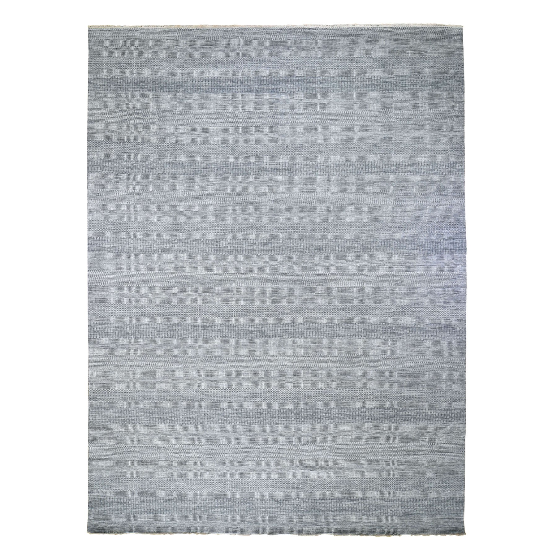 "12'x14'7"" Oversized Gray Grass Design Thick And Plush Wool And Silk Hand Knotted Oriental Rug"