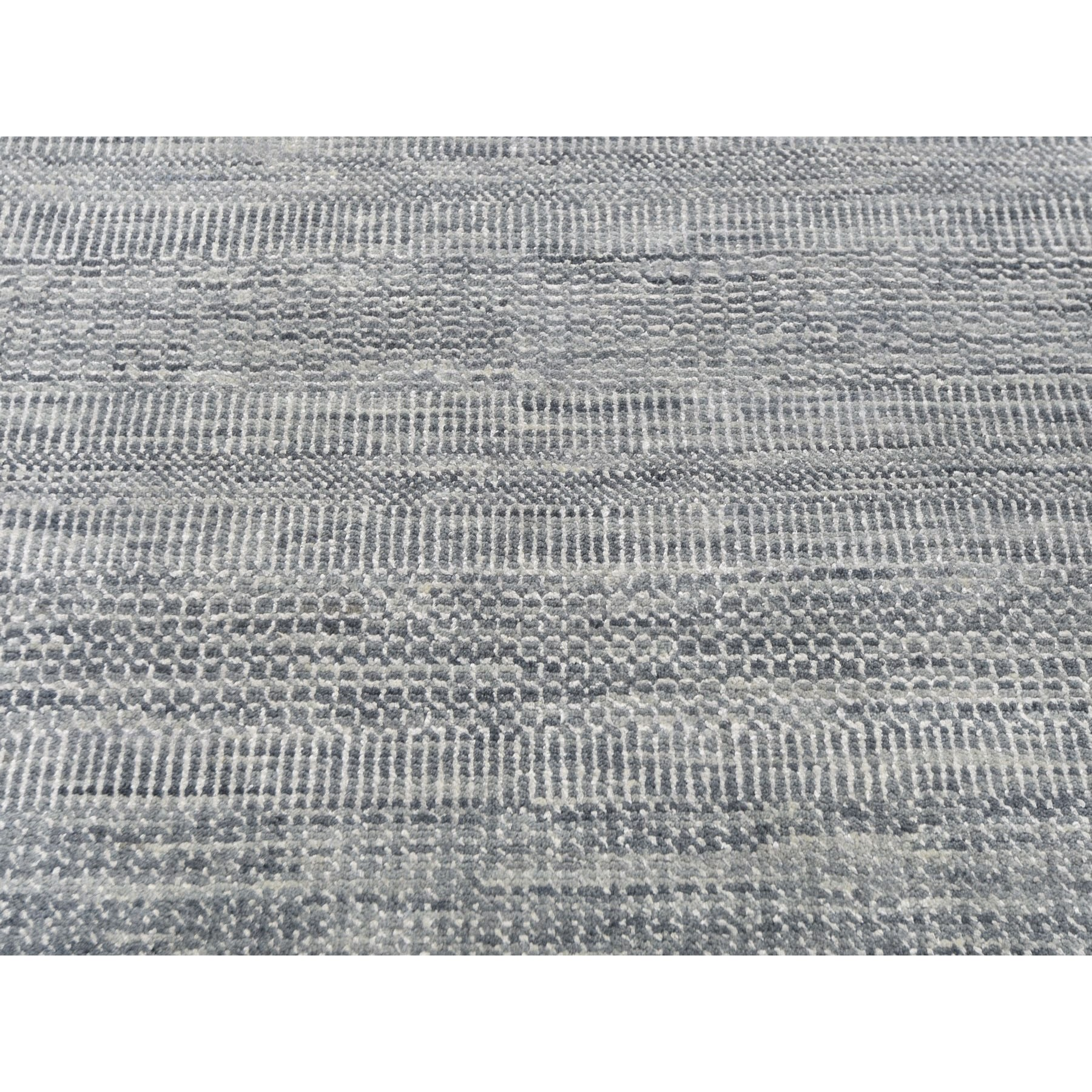 """12'x14'7"""" Oversized Gray Grass Design Thick And Plush Wool And Silk Hand Knotted Oriental Rug"""