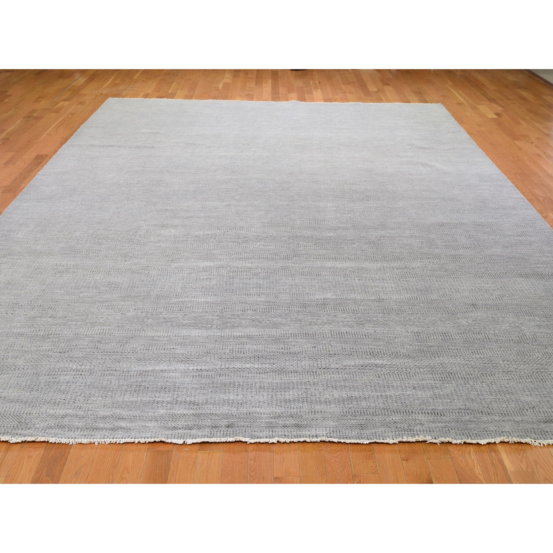 10-3 x14-5  Gray Grass Design Thick And Plush Wool And Silk Hand Knotted Oriental Rug
