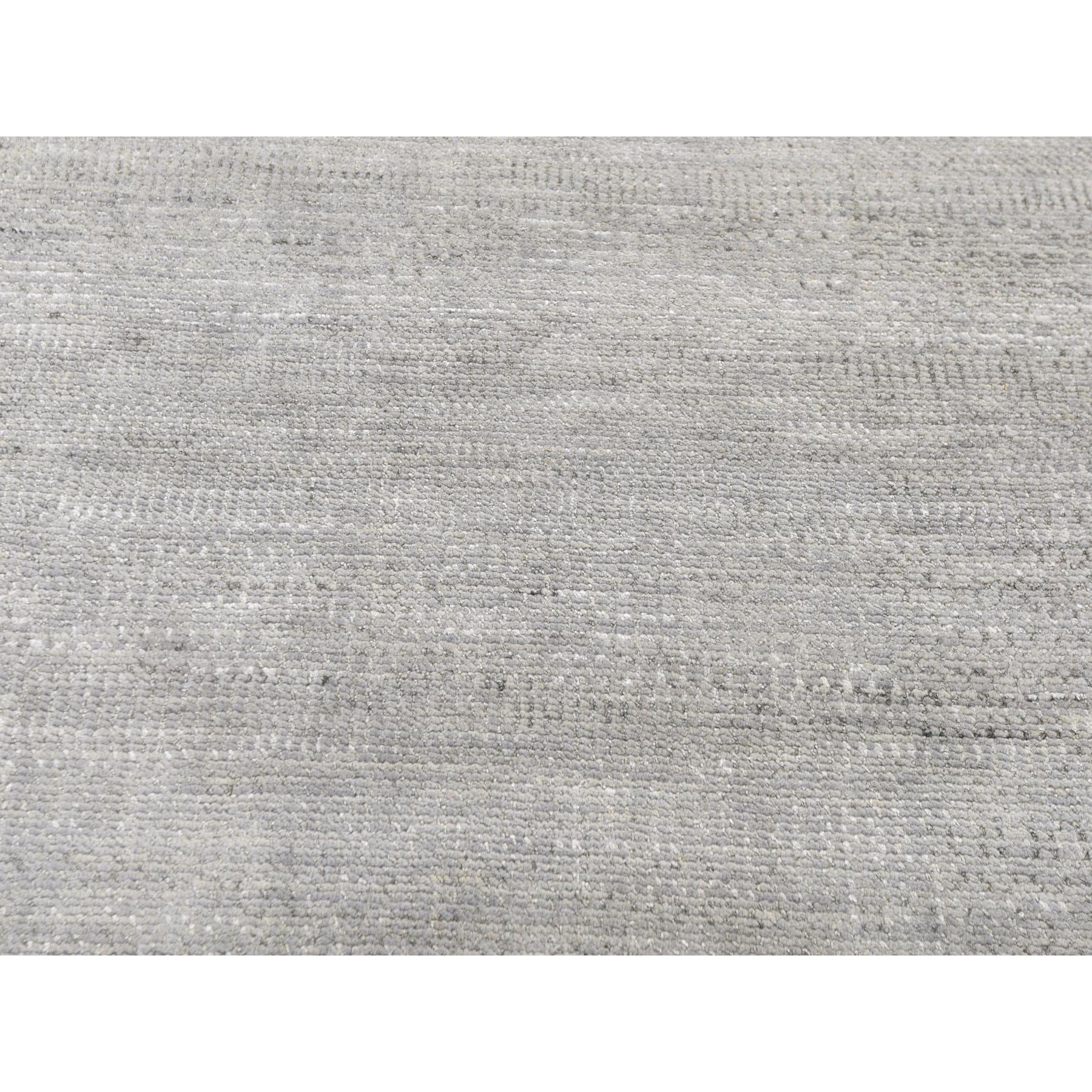 "10'3""x14'5"" Gray Grass Design Thick And Plush Wool And Silk Hand Knotted Oriental Rug"