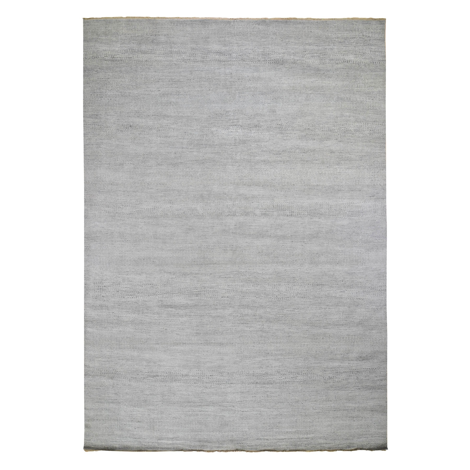 "10'3""x14' Gray Grass Design Thick And Plush Wool And Silk Hand Knotted Oriental Rug"