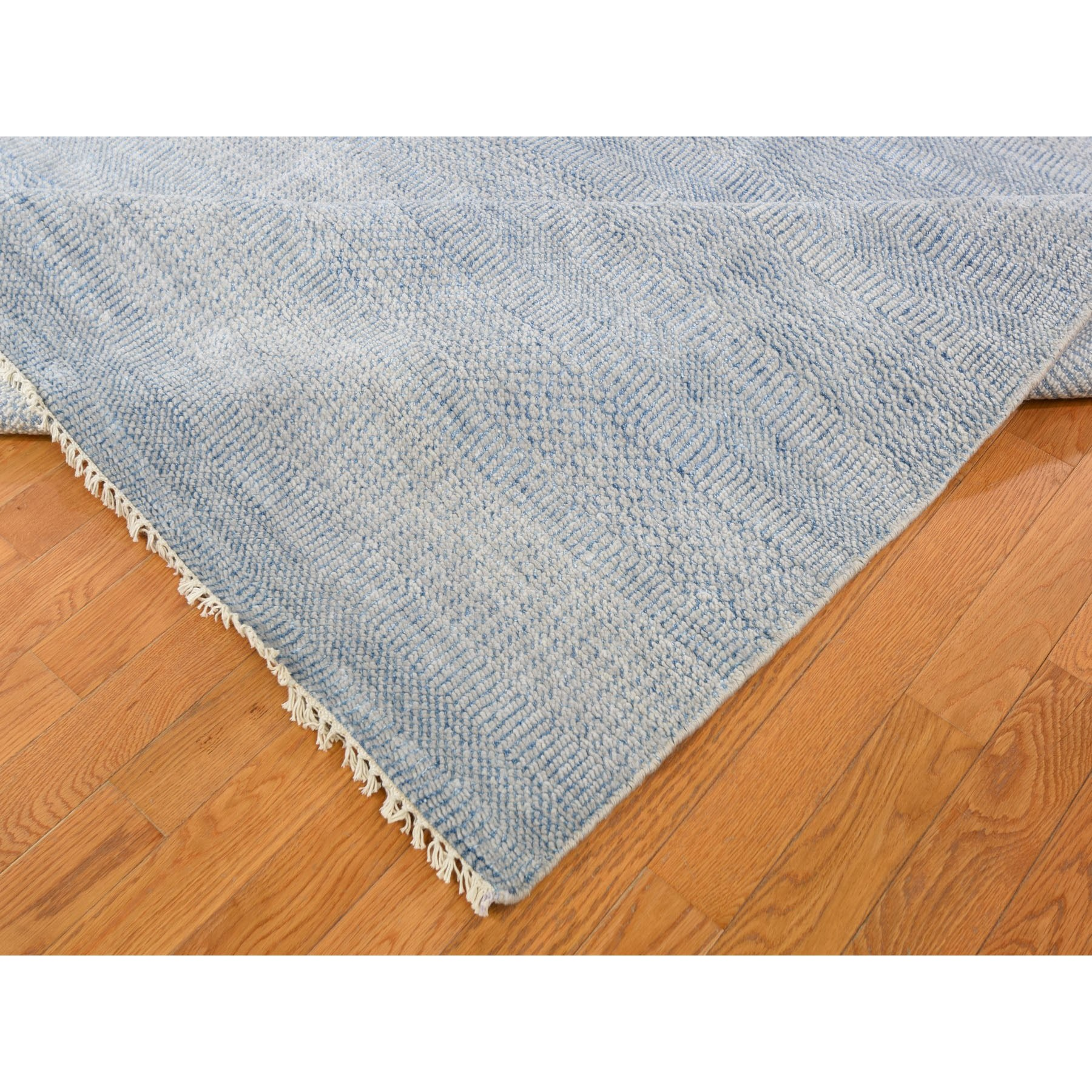 """12'x14'6"""" Oversized Blue Grass Design Thick And Plush Hand Knotted Oriental Rug"""