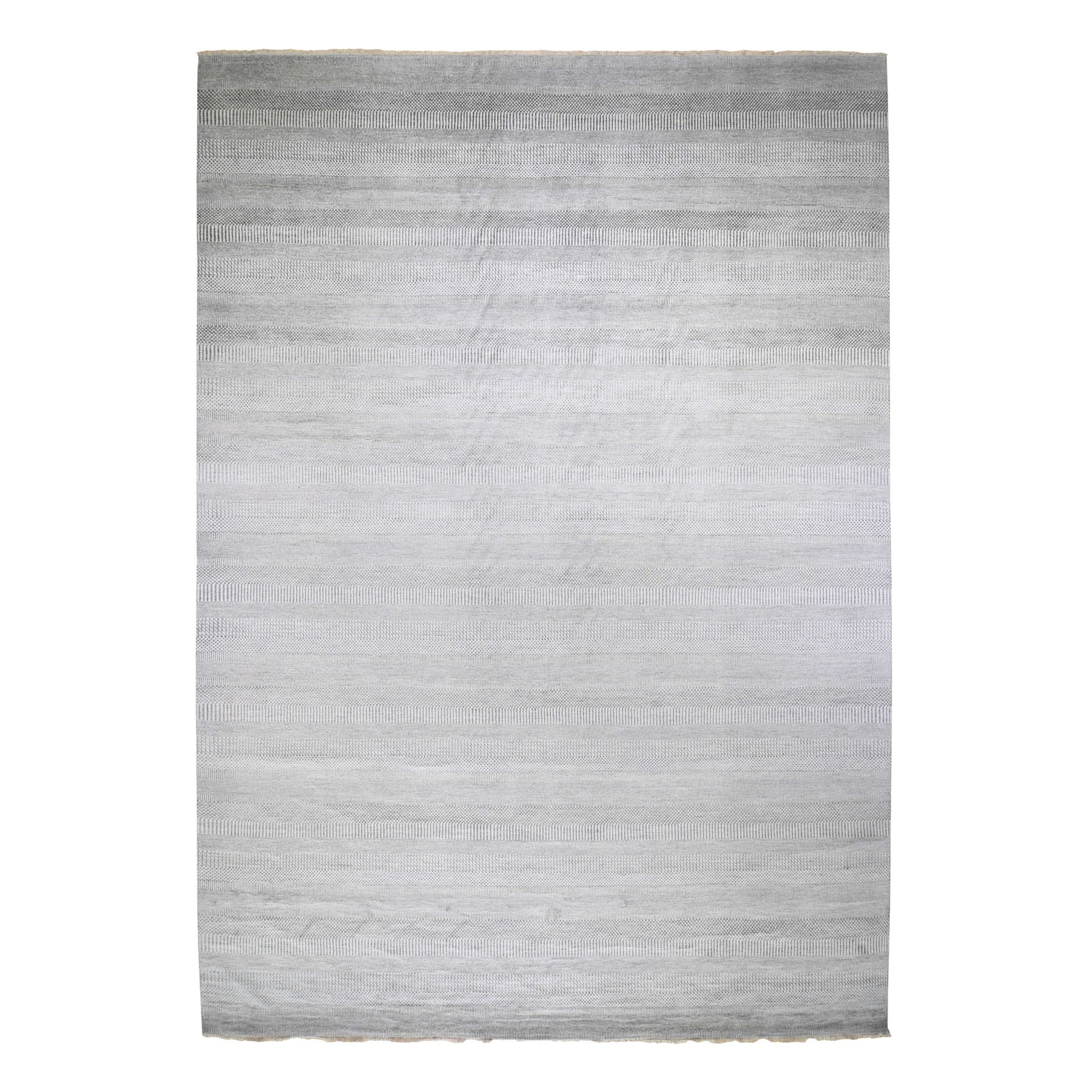 12'x18' Oversized Gray Grass Design Wool And Silk Hand Knotted Oriental Rug