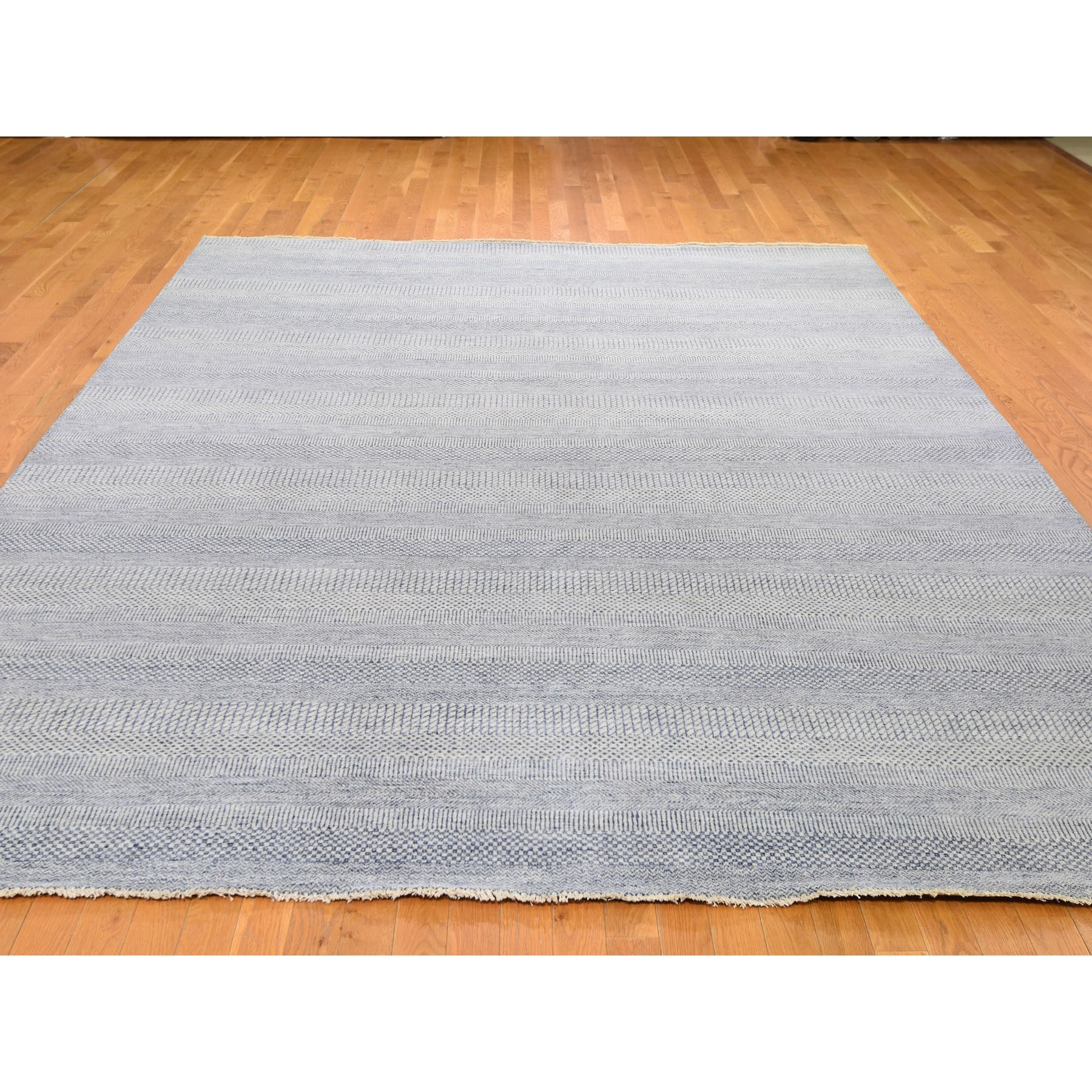 """9'x12'3"""" Blue Grass Design Wool And Silk Hand Knotted Oriental Rug"""
