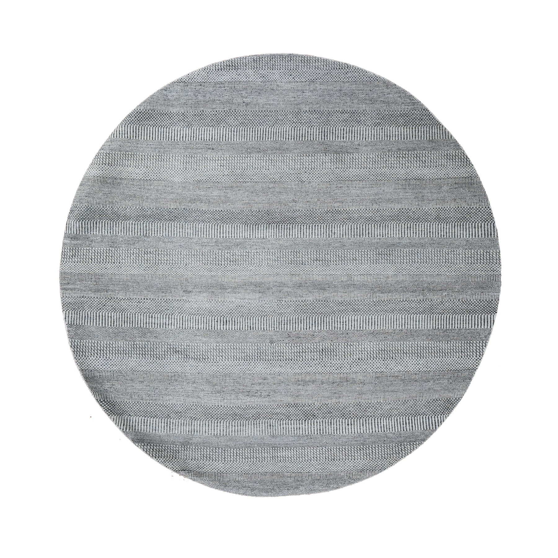 8'x8' Round Gray Grass Design Wool And Silk Hand Knotted Oriental Rug