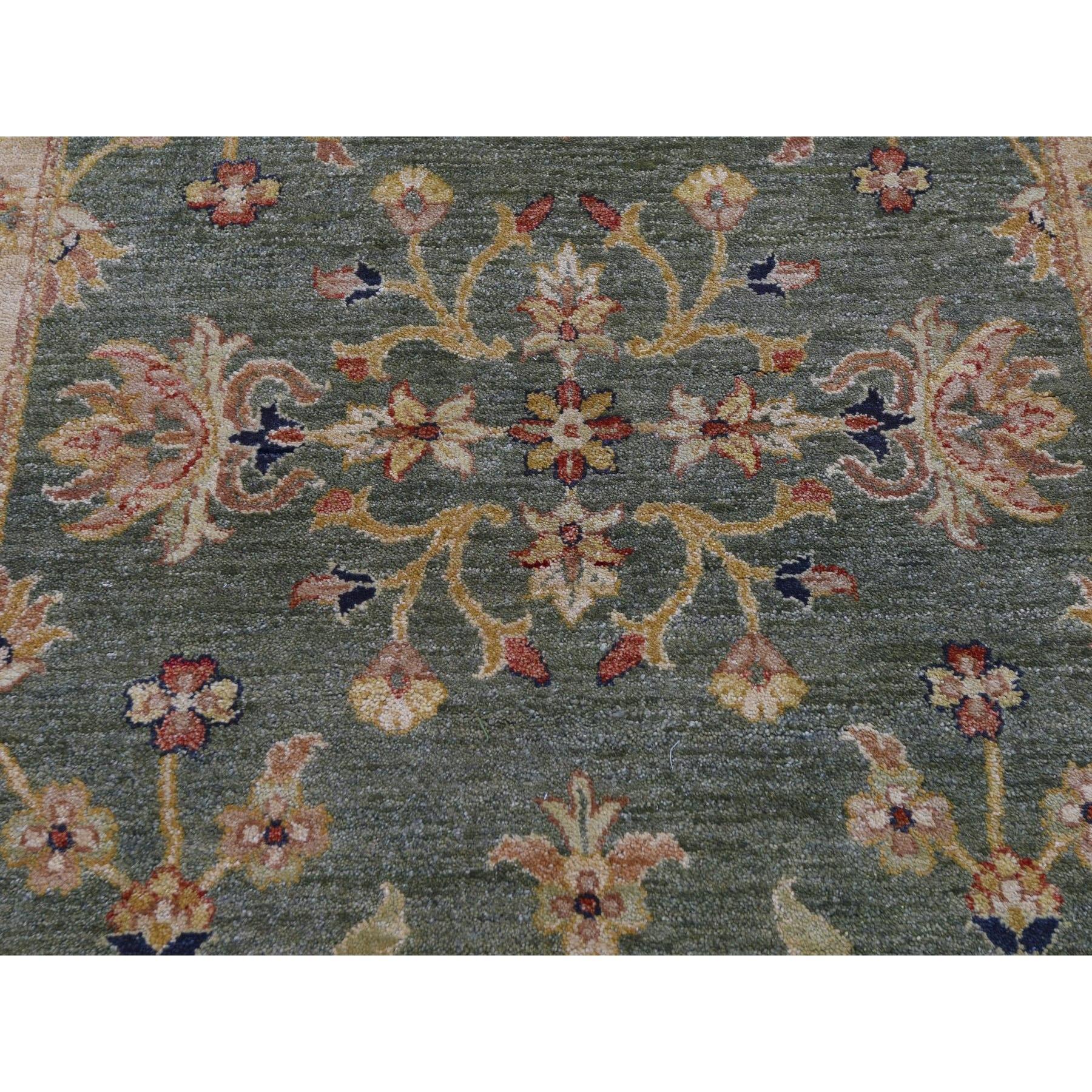 "3'6""x32'2"" Green Pure Wool Hard Twist Agra XL Runner Hand Knotted Oriental Rug"