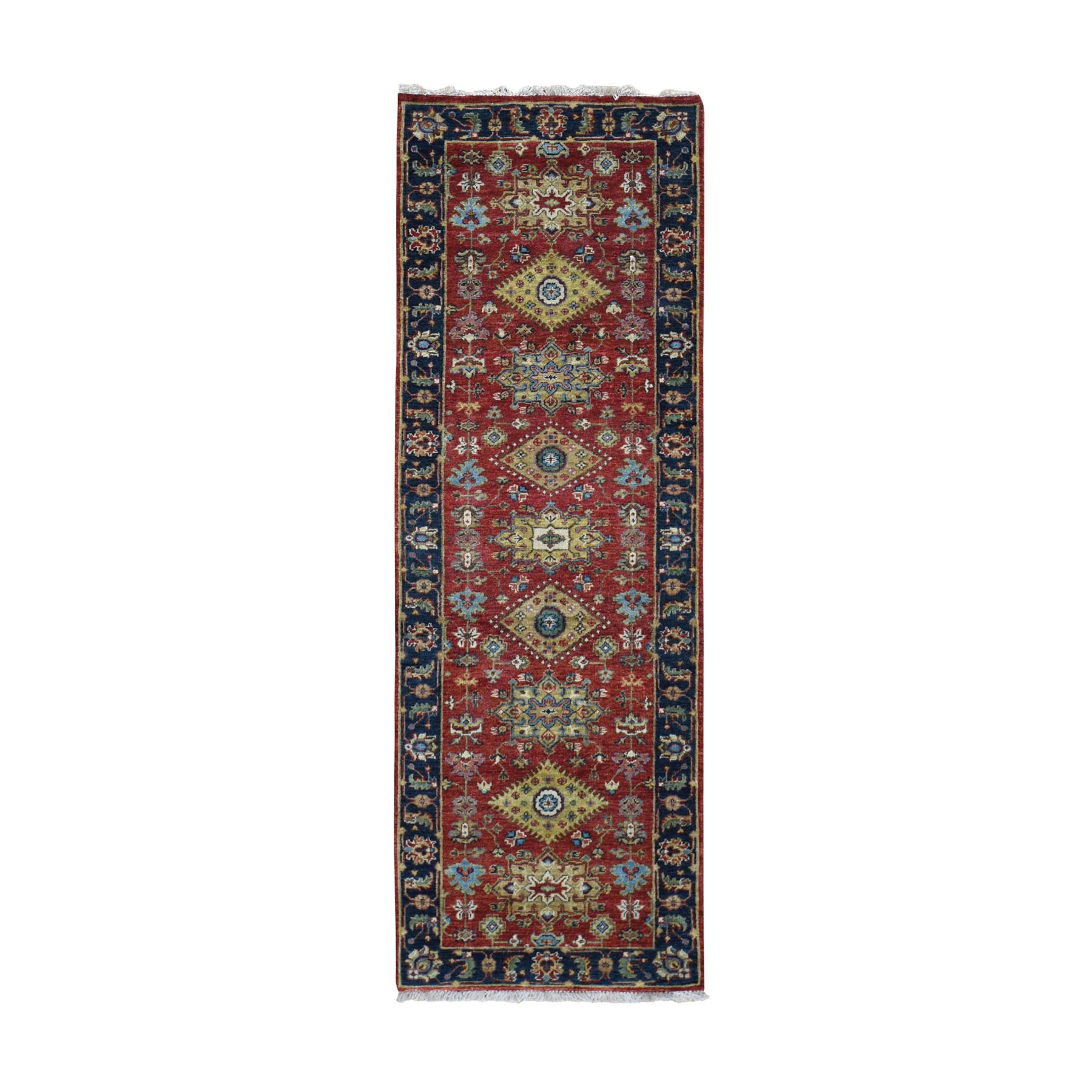 "2'6""x8' Red Karajeh Design Runner Pure Wool Hand Knotted Oriental Rug"