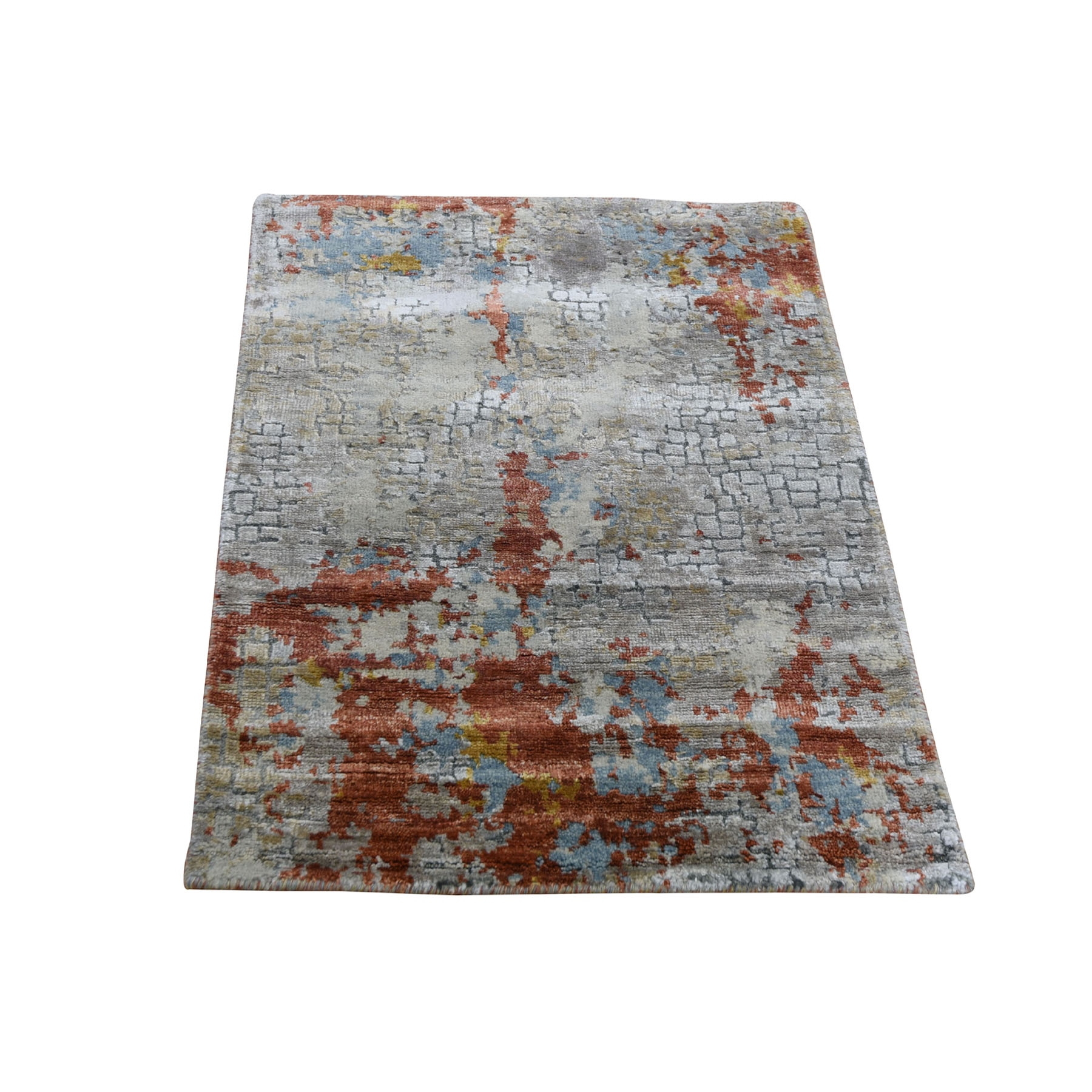 2'x3' Wool And Silk Abstract With Fire Mosaic Design Hand-Knotted Oriental Rug