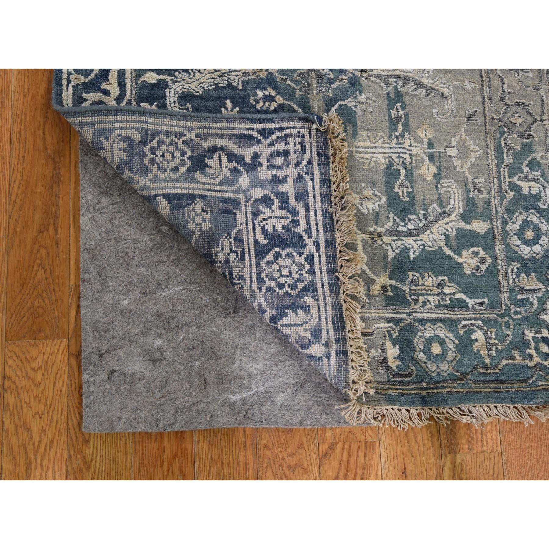 "2'6""x9'9"" Broken Persian Heriz All Over Design Wool And Silk Runner Hand Knotted Oriental Rug"