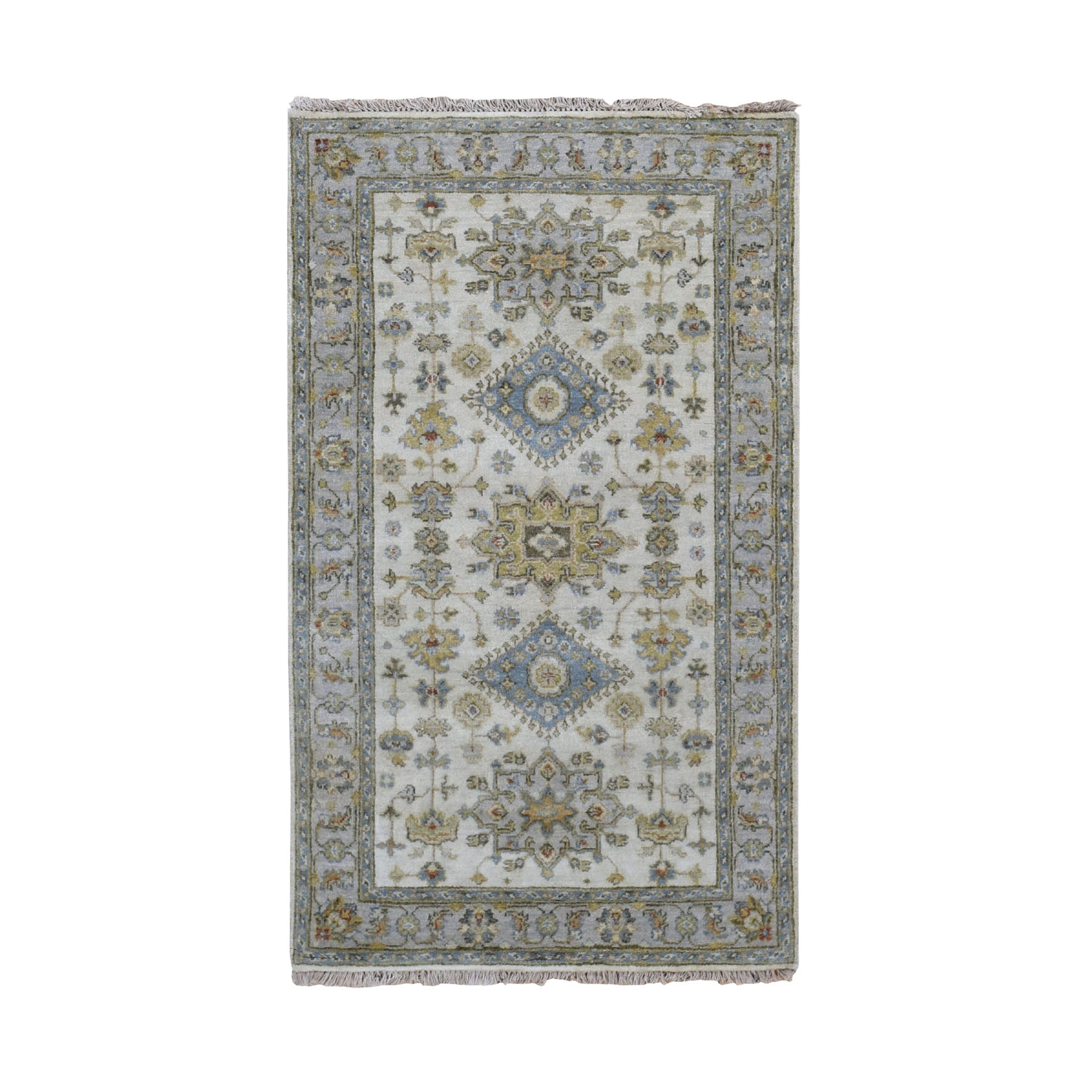 "3'x5'1"" Ivory Karajeh Design Pure Wool Hand Knotted Oriental Rug"
