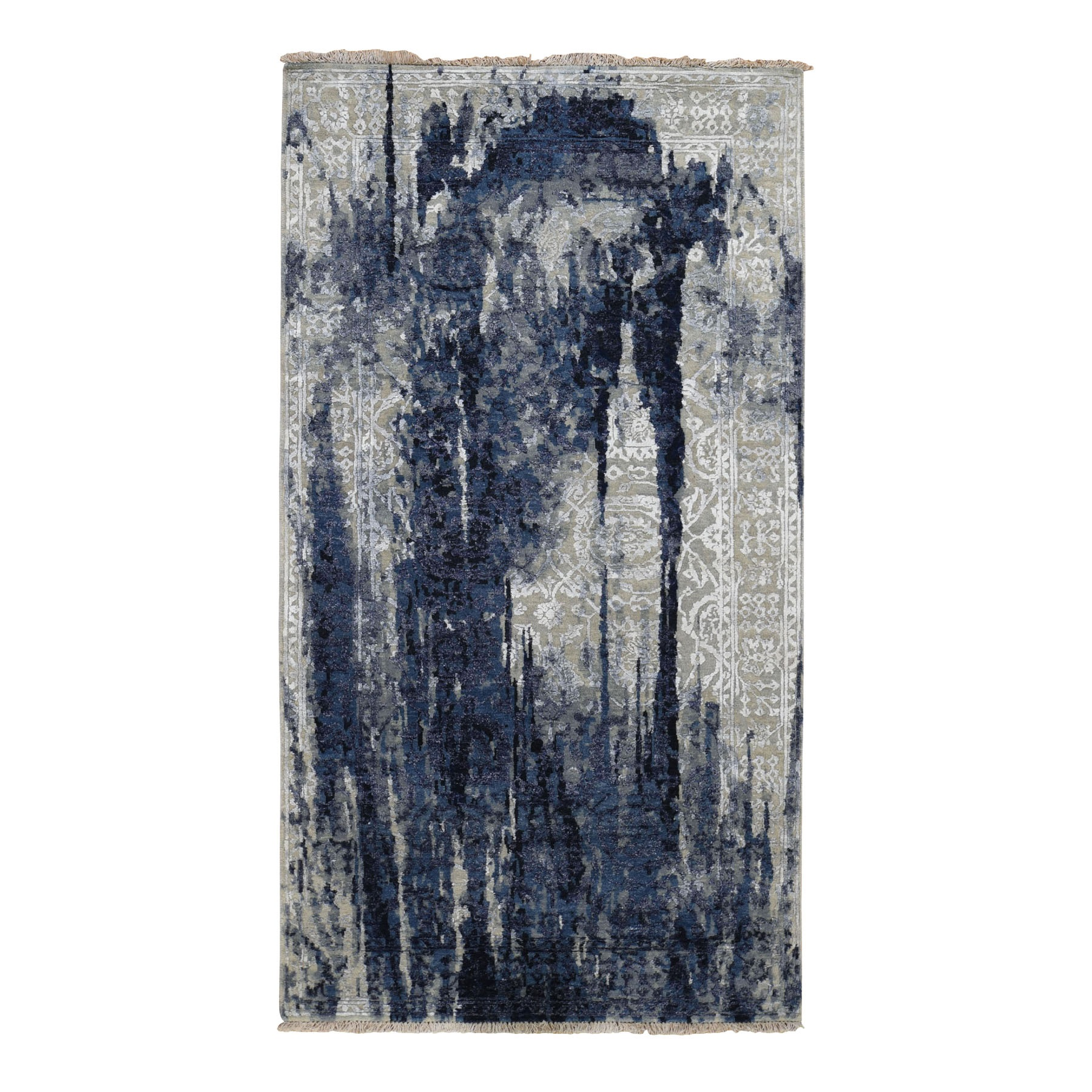 4'X8' Gallery Size Wool And Silk Shibori Design Tone On Tone Hand Knotted Oriental Rug moad8cad
