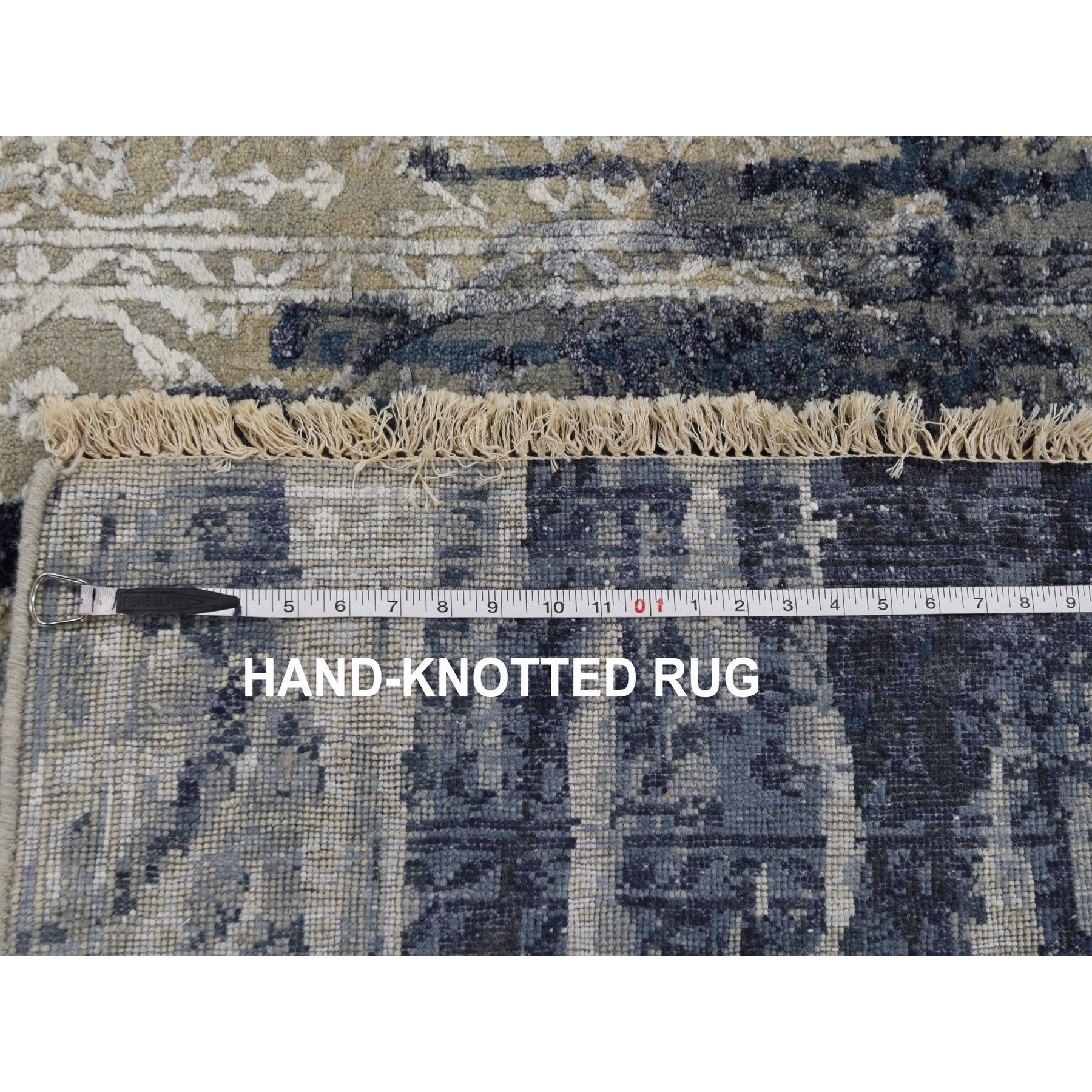 4'x8' Gallery Size Wool And Silk Shibori Design Tone On Tone Hand Knotted Oriental Rug