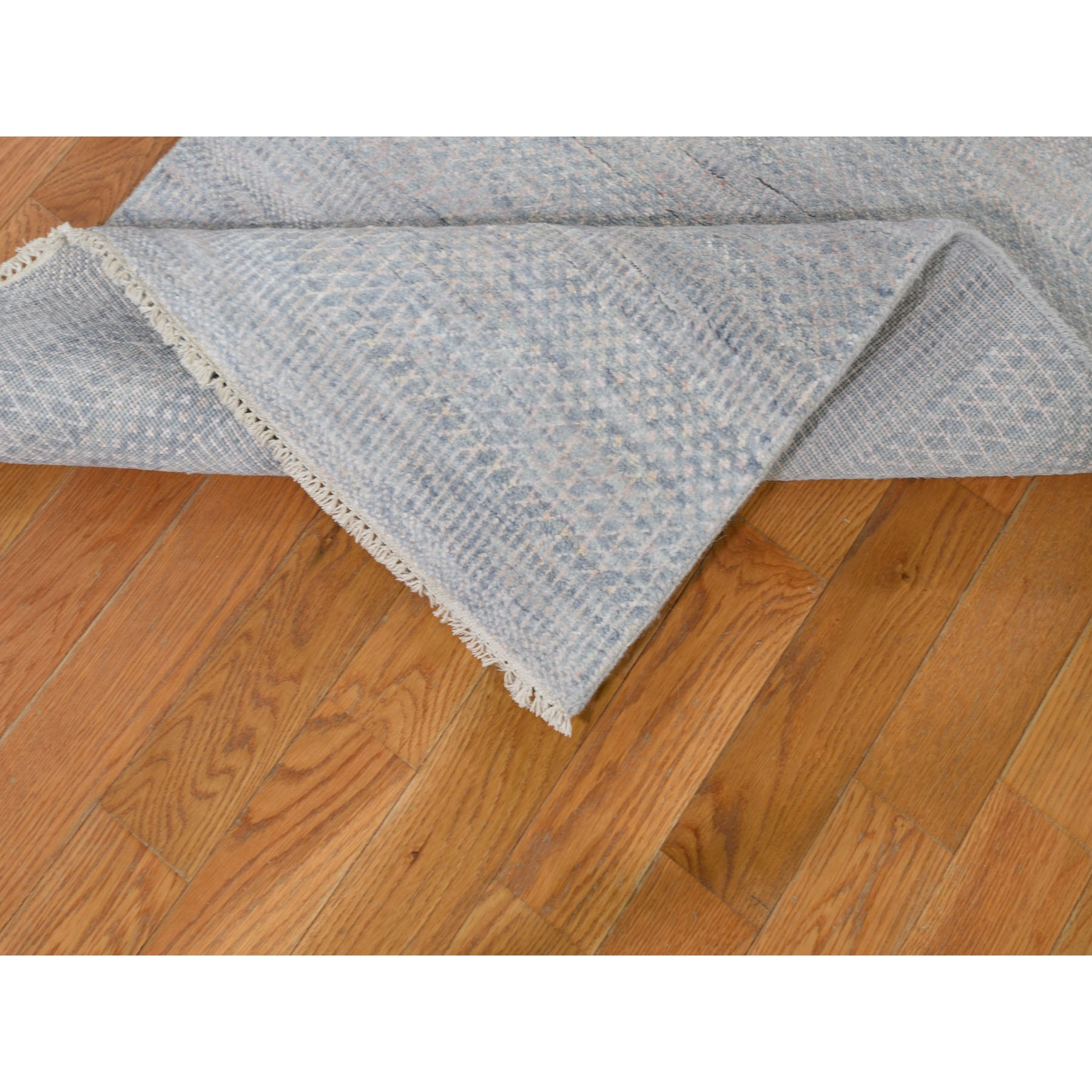 "2'6""x11'10"" Blue Grass Design Wool And Silk Runner Hand Knotted Oriental Rug"