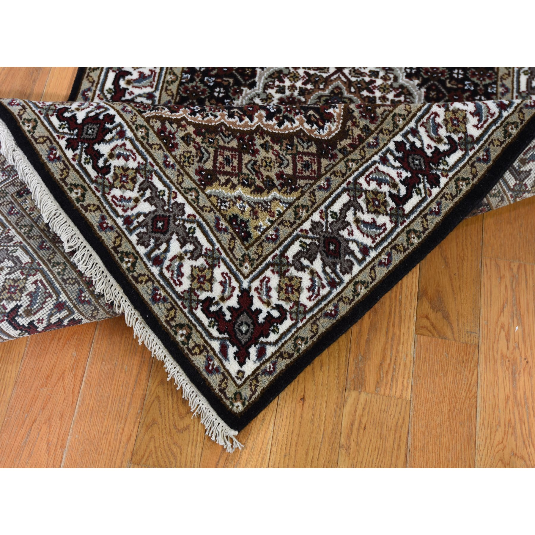 "2'7""x16' Black Tabriz Mahi Wool and Silk XL Runner Hand Knotted Oriental Rug"