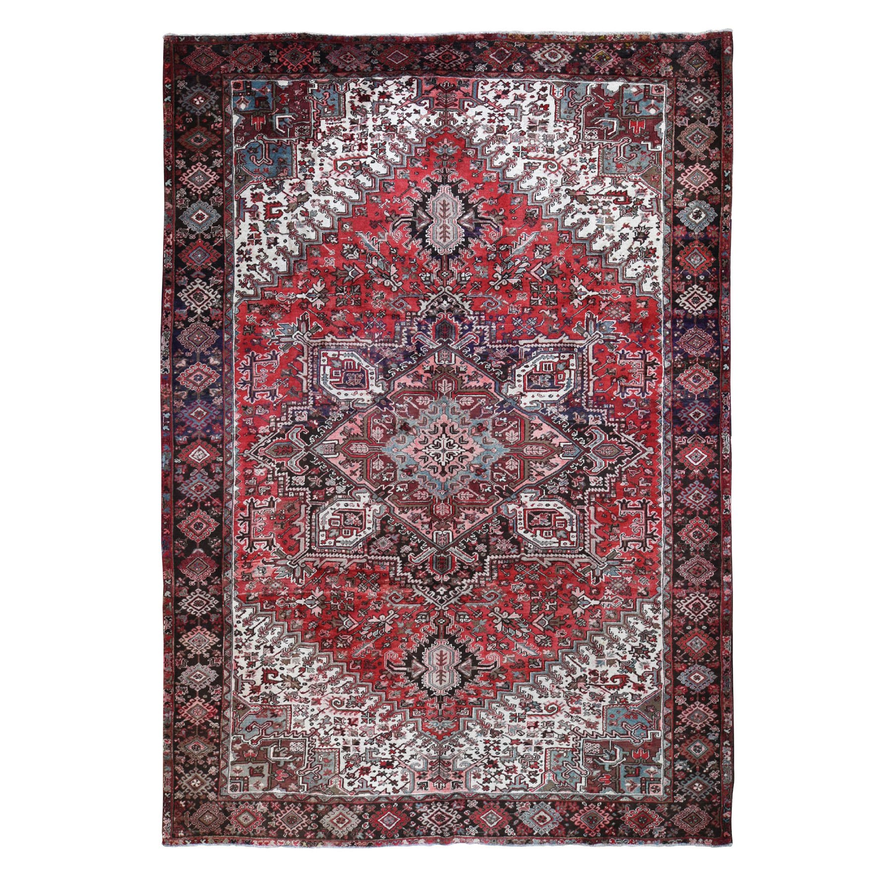 "9'10""x13'1"" Red Semi Antique Persian Heriz Geometric Design Thick and Plush Hand Knotted Oriental Rug"