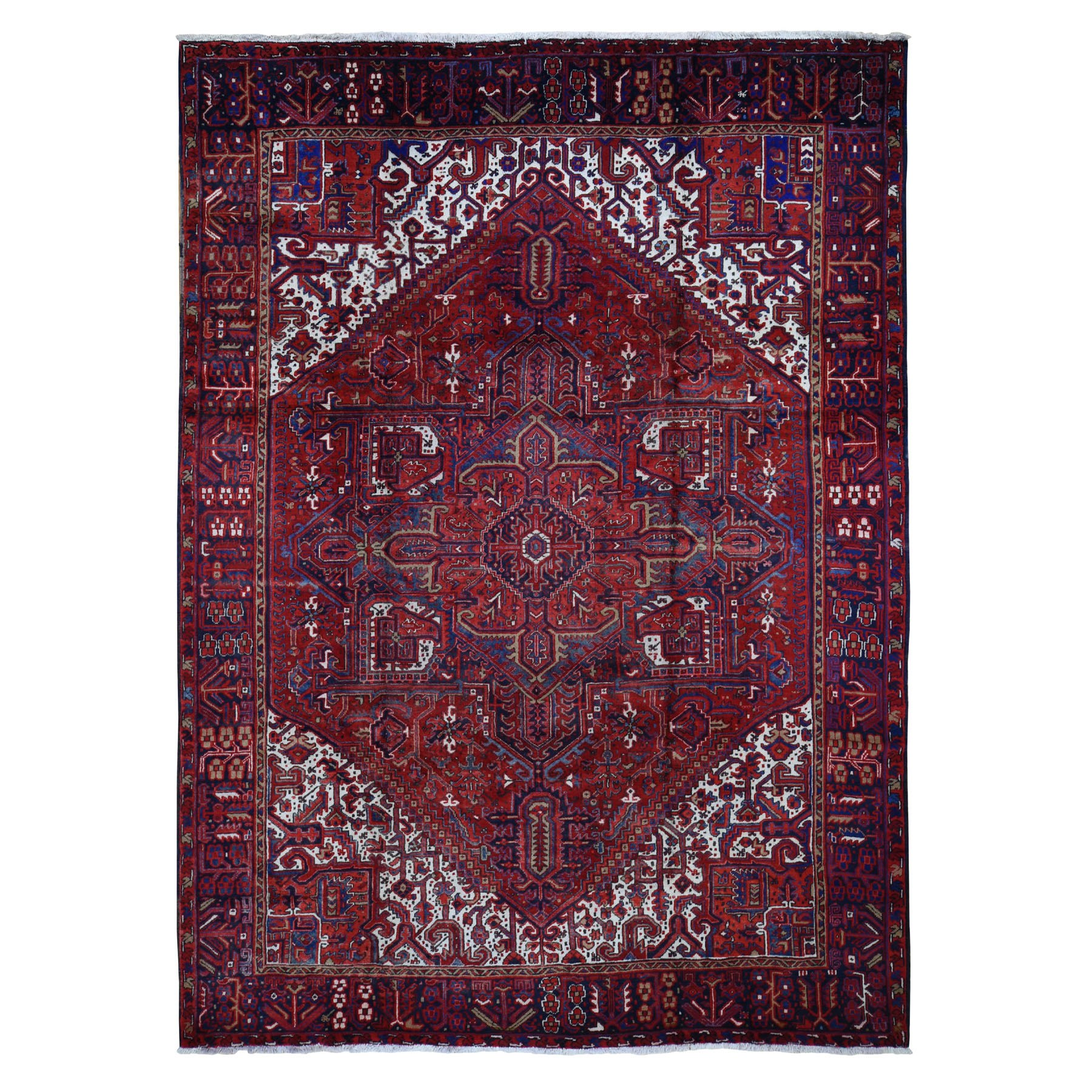 "8'7""x11'6"" Red Semi Antique Persian Heriz Geometric Design Thick and Plush Hand Knotted Oriental Rug"