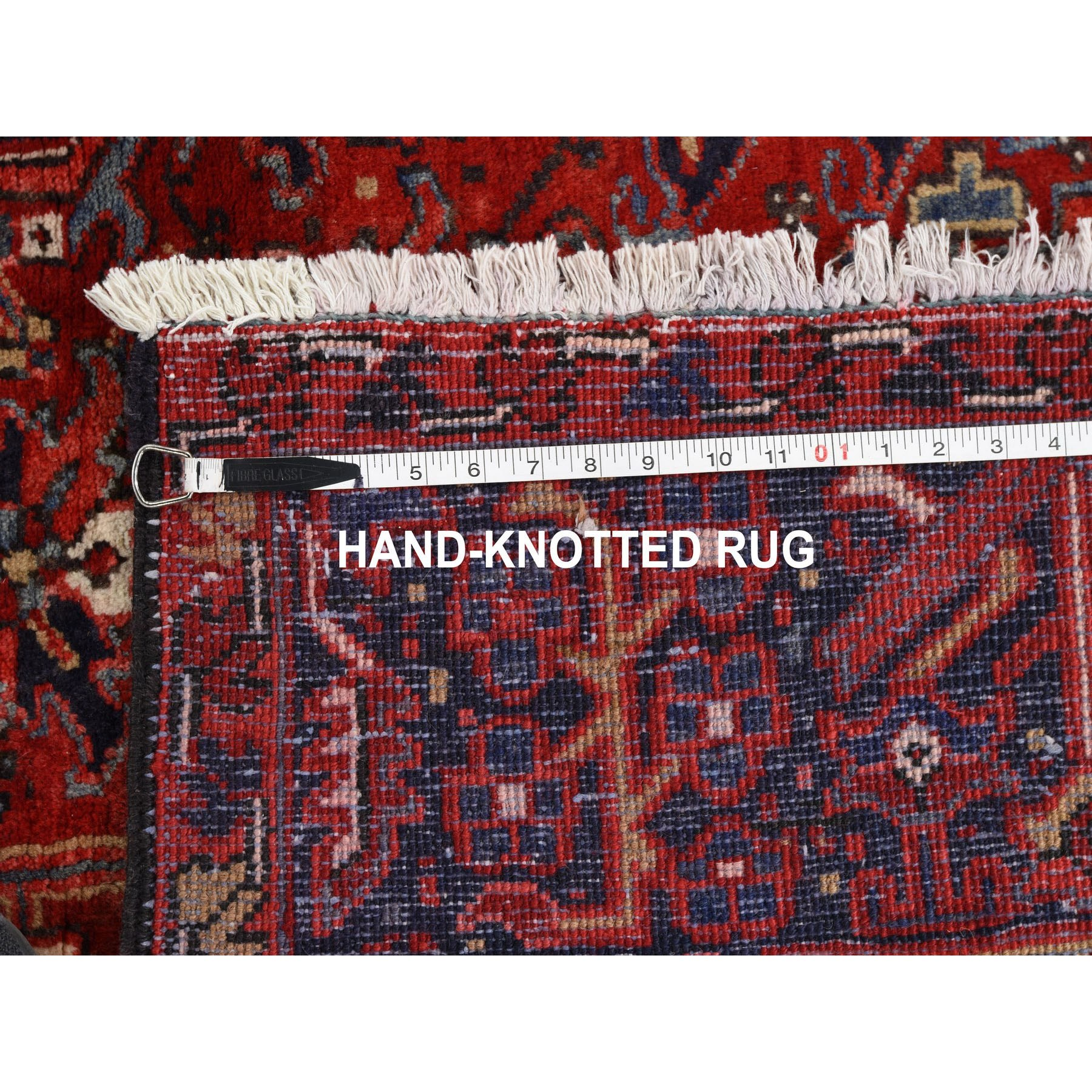 """8'7""""x11'6"""" Red Semi Antique Persian Heriz Geometric Design Thick and Plush Hand Knotted Oriental Rug"""