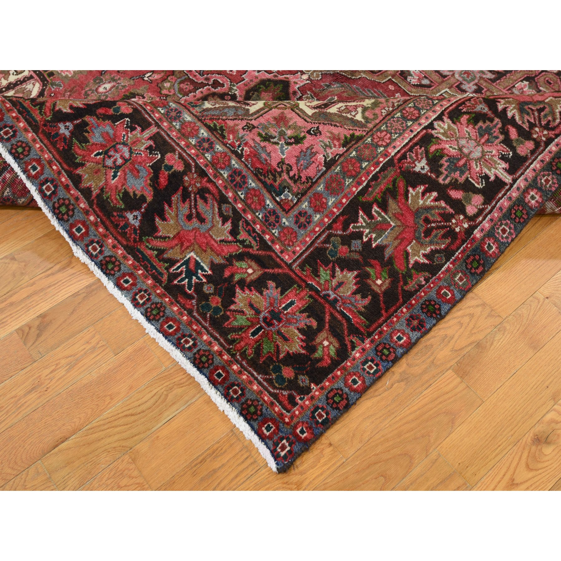"7'7""x11' Red Semi Antique Persian Heriz Geometric Design Thick and Plush Hand Knotted Oriental Rug"