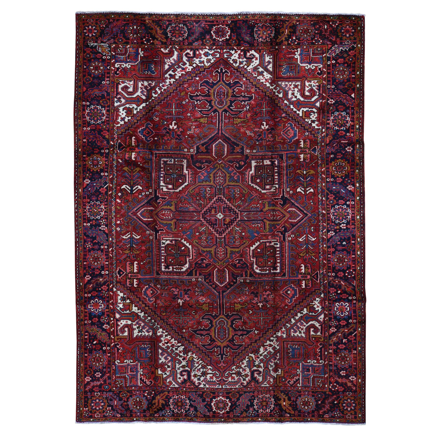"8'1""x11'4"" Red Semi Antique Persian Heriz Geometric Design Thick and Plush Hand Knotted Oriental Rug"