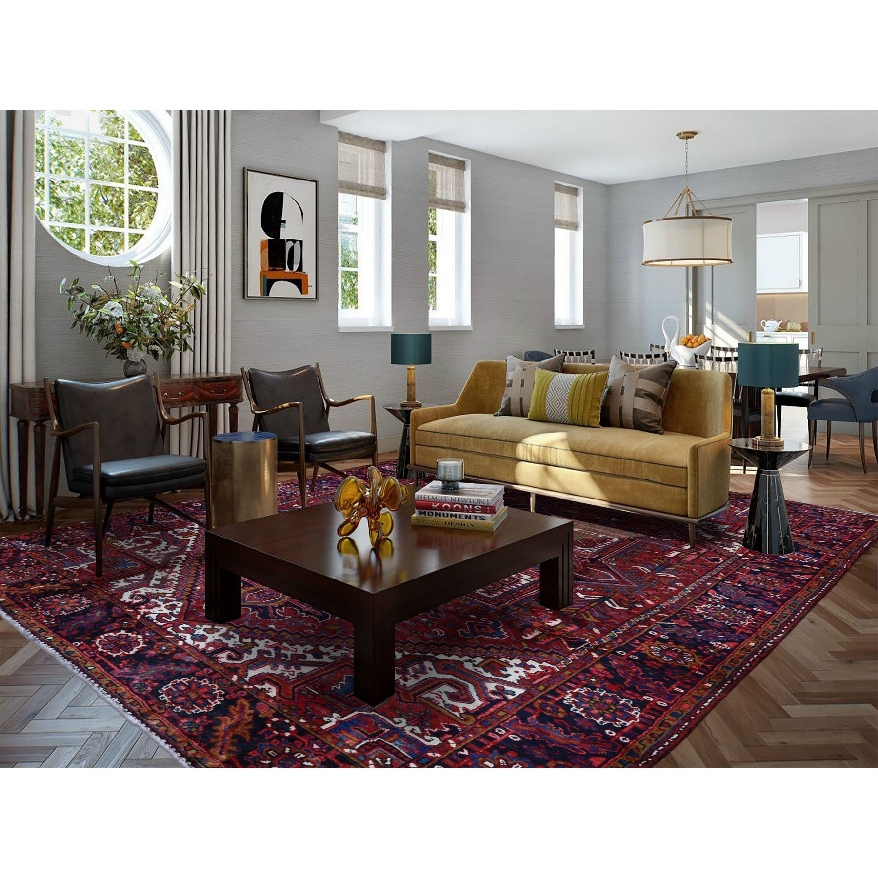 """8'1""""x11'4"""" Red Semi Antique Persian Heriz Geometric Design Thick and Plush Hand Knotted Oriental Rug"""