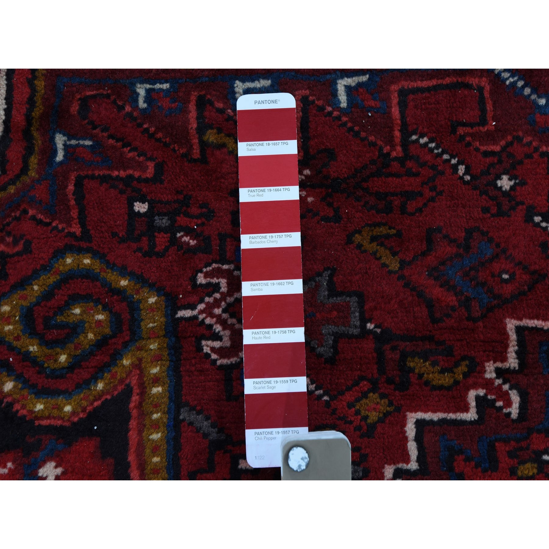 6-6 x9-5  Red Semi Antique Persian Heriz Geometric Design Thick and Plush Hand Knotted Oriental Rug