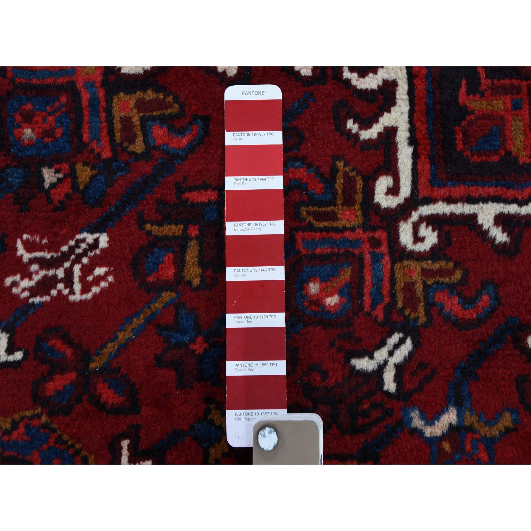 "8'x10'10"" Red Semi Antique Persian Heriz Geometric Design Thick and Plush Hand Knotted Oriental Rug"