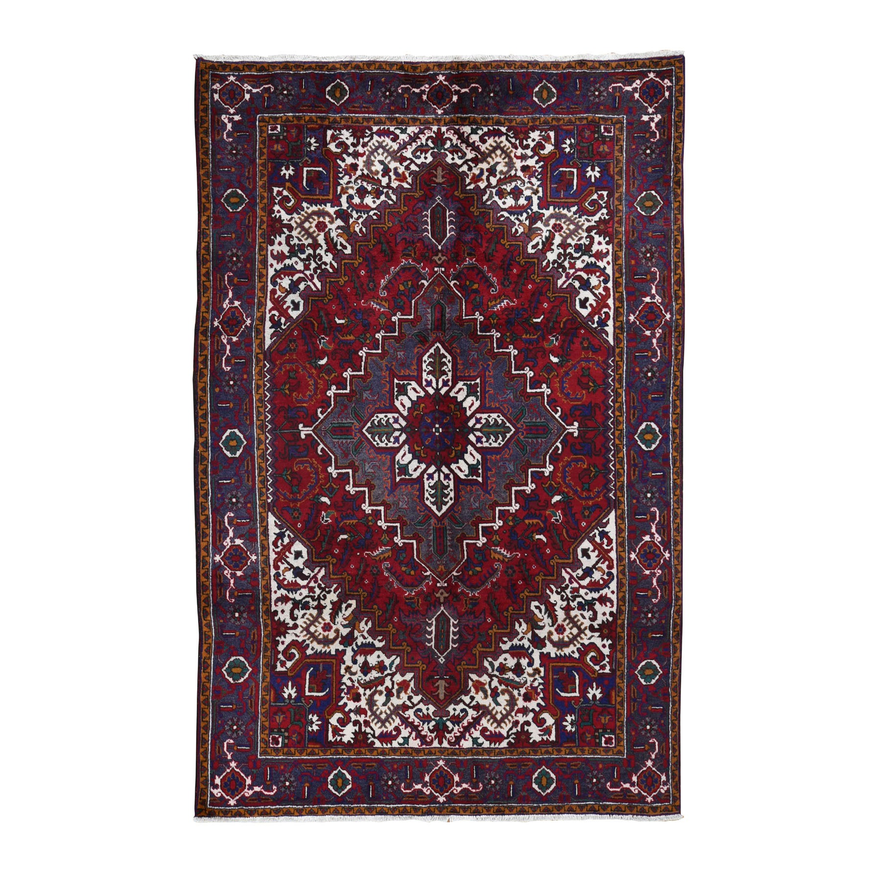"6'6""X9'5"" Red Semi Antique Persian Heriz Geometric Design Thick And Plush Hand Knotted Oriental Rug moad8cca"