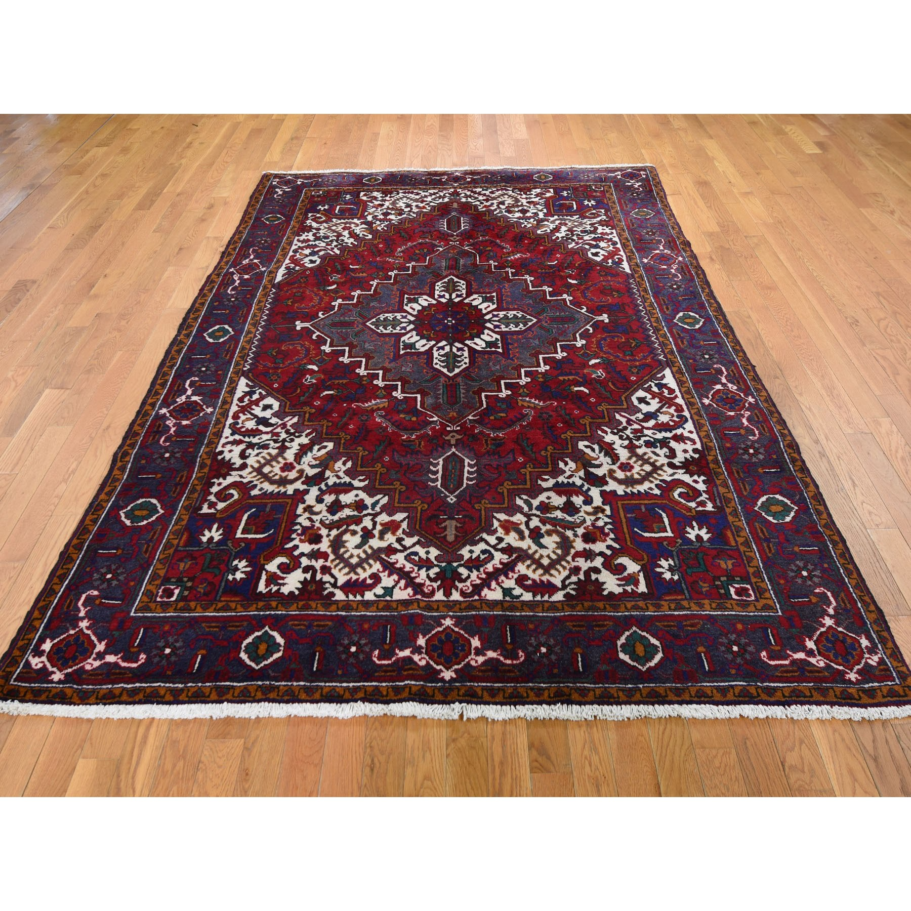 "6'6""x9'5"" Red Semi Antique Persian Heriz Geometric Design Thick and Plush Hand Knotted Oriental Rug"