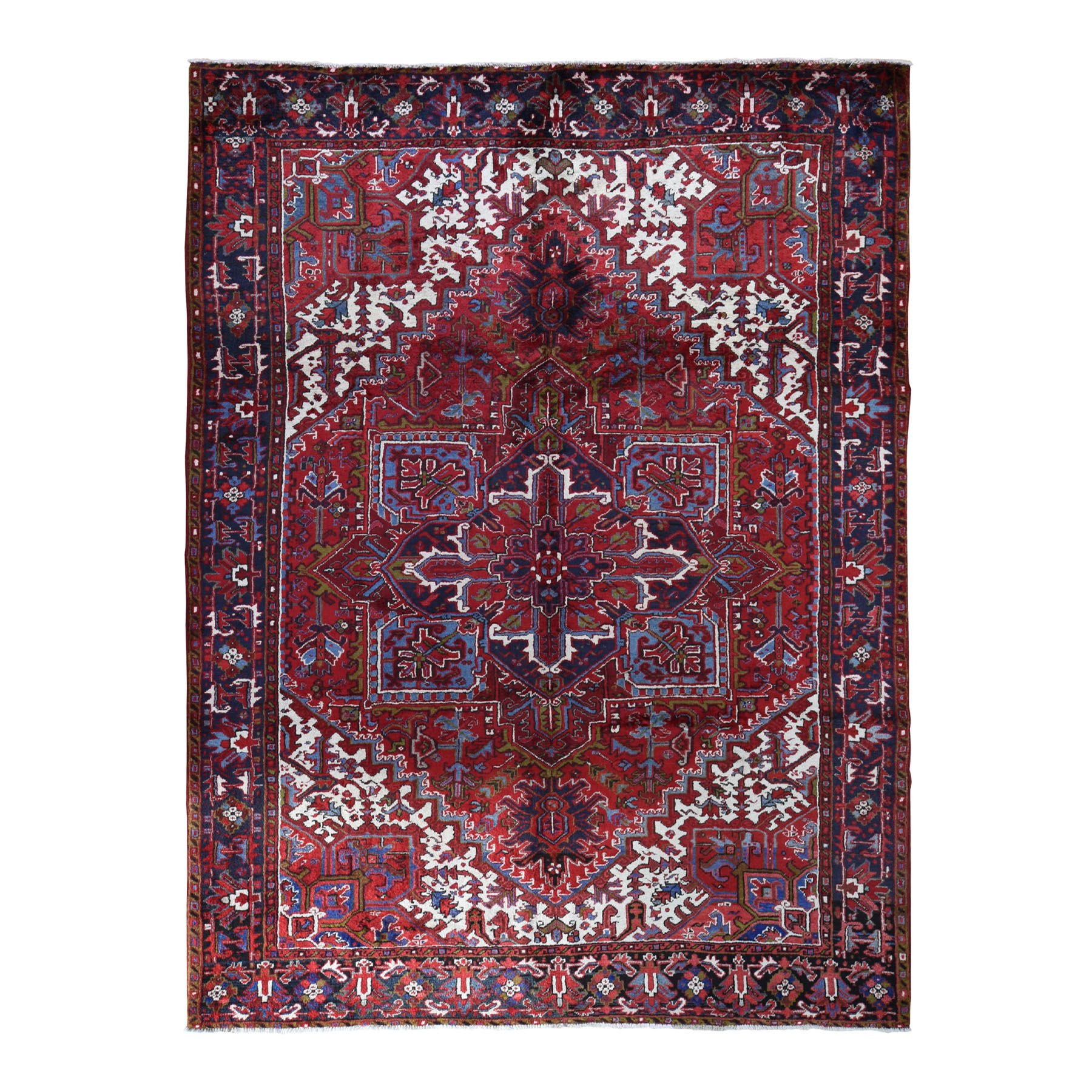 "7'6""x10'6"" Red Semi Antique Persian Heriz Geometric Design Thick and Plush Hand Knotted Oriental Rug"