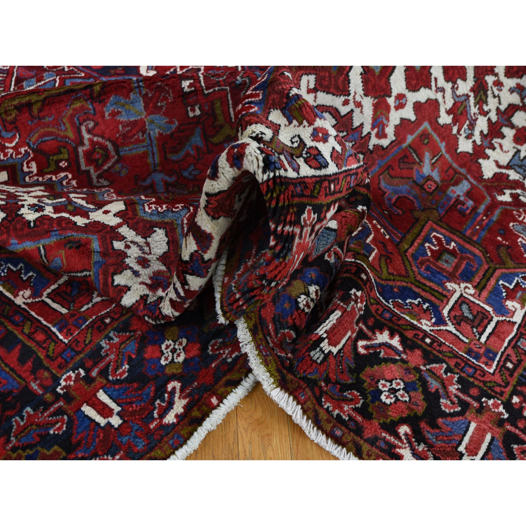 """7'6""""x10'6"""" Red Semi Antique Persian Heriz Geometric Design Thick and Plush Hand Knotted Oriental Rug"""
