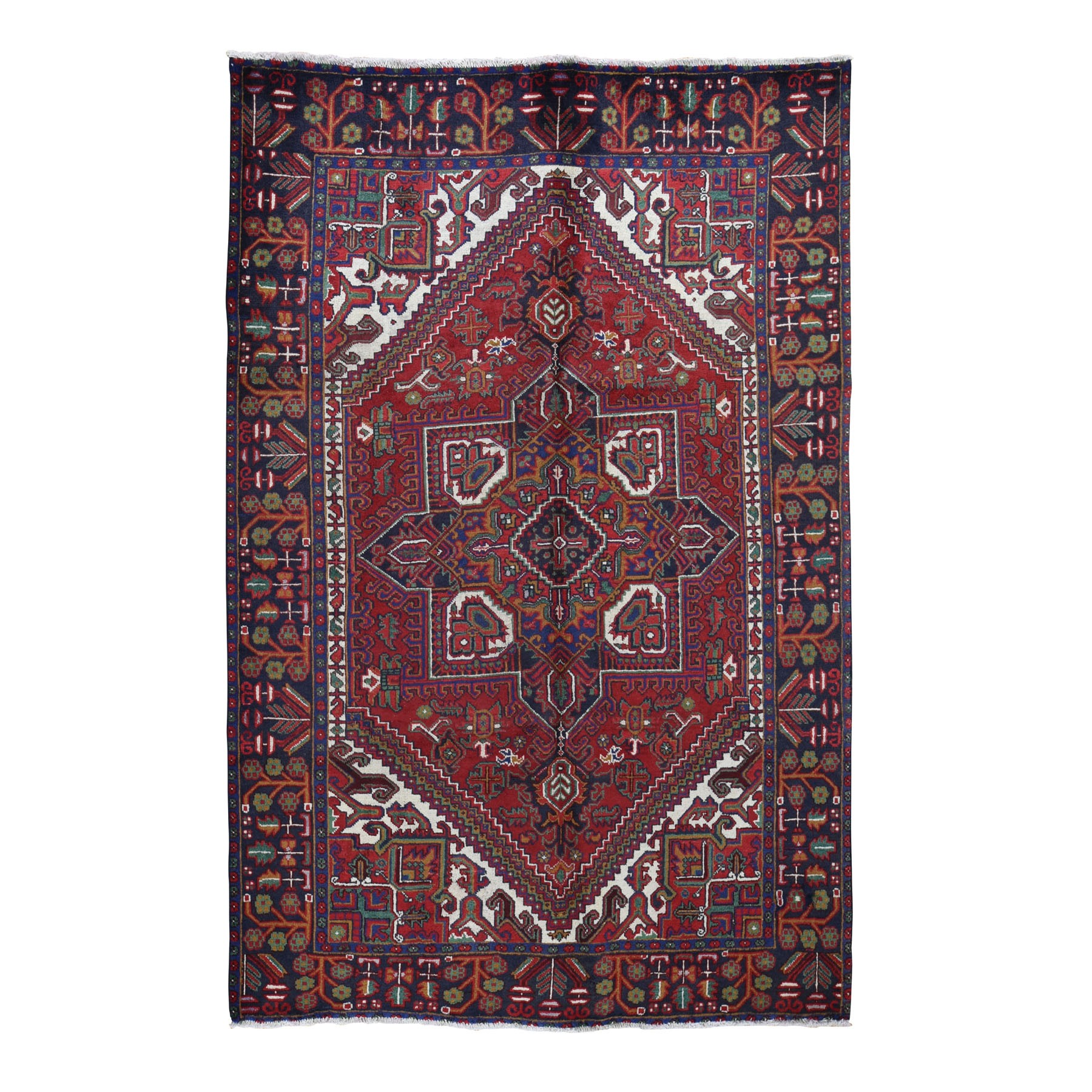 "6'6""x9'3"" Red Semi Antique Persian Heriz Geometric Design Thick and Plush Hand Knotted Oriental Rug"