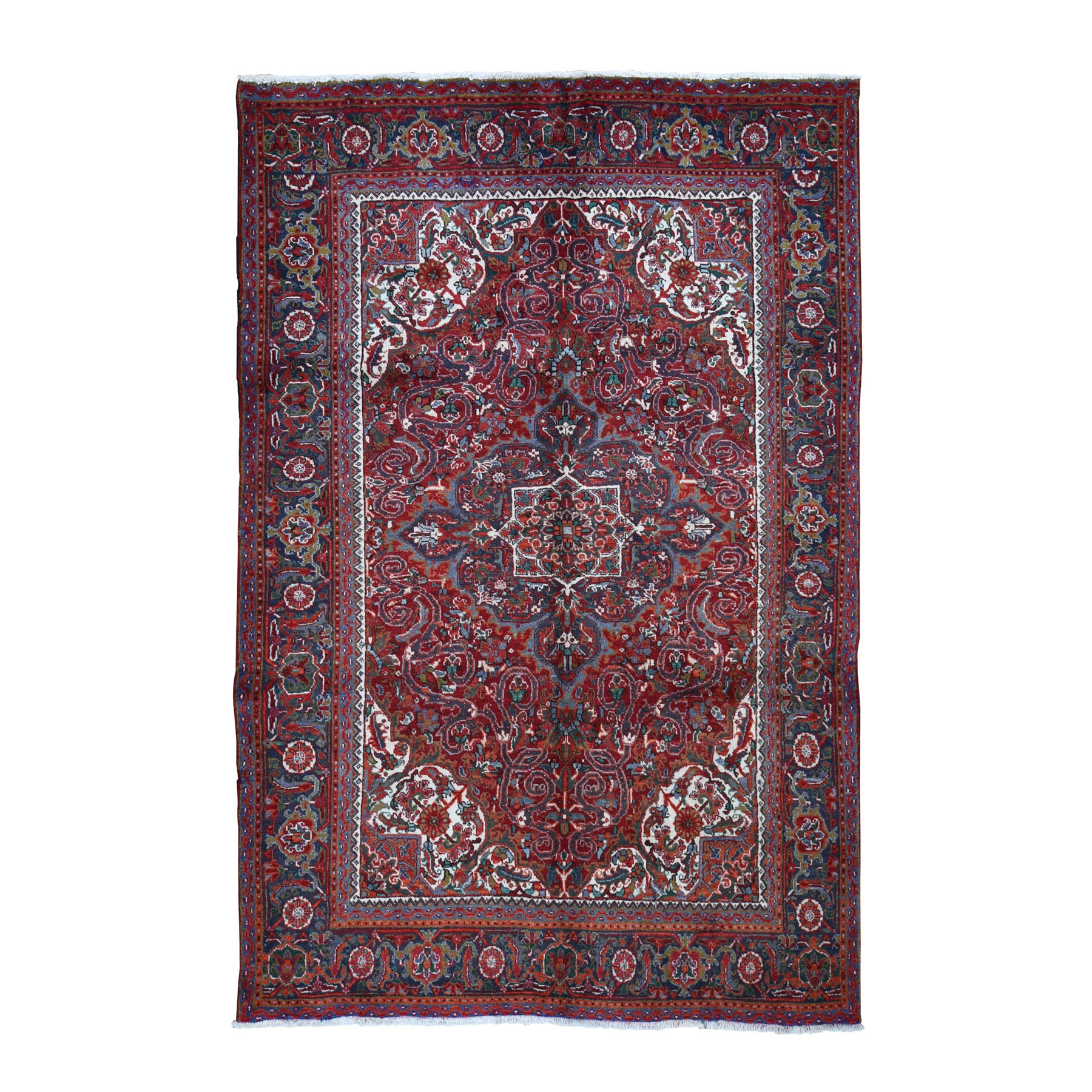 "6'10""x9'8"" Red Semi Antique Persian Heriz Flower Design Thick and Plush Hand Knotted Oriental Rug"