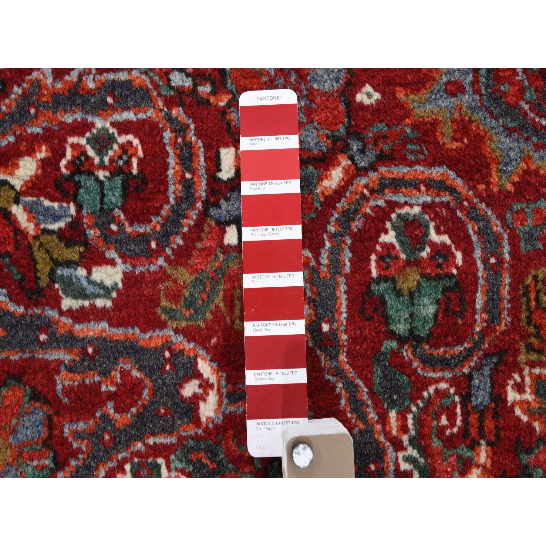 6-10 x9-8  Red Semi Antique Persian Heriz Flower Design Thick and Plush Hand Knotted Oriental Rug