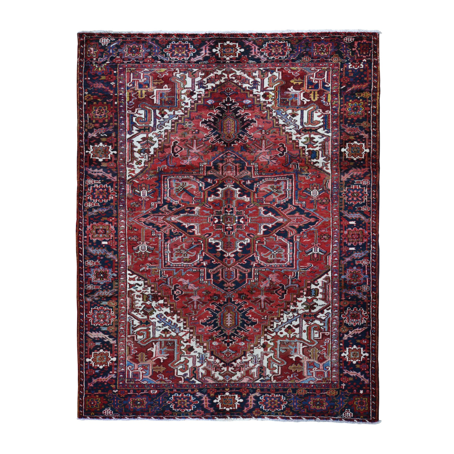 8 X10 Red Semi Antique Persian Heriz Geometric Design Thick And Plush Hand Knotted Oriental Rug