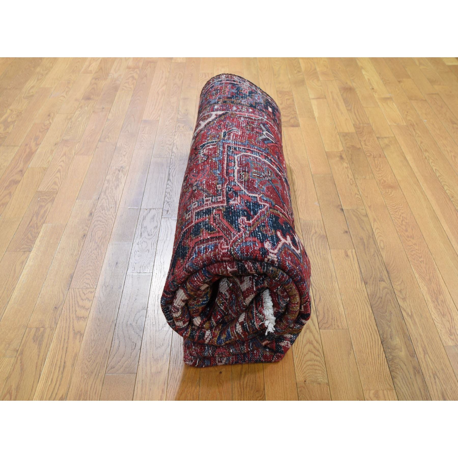 8'x10' Red Semi Antique Persian Heriz Geometric Design Thick and Plush Hand Knotted Oriental Rug
