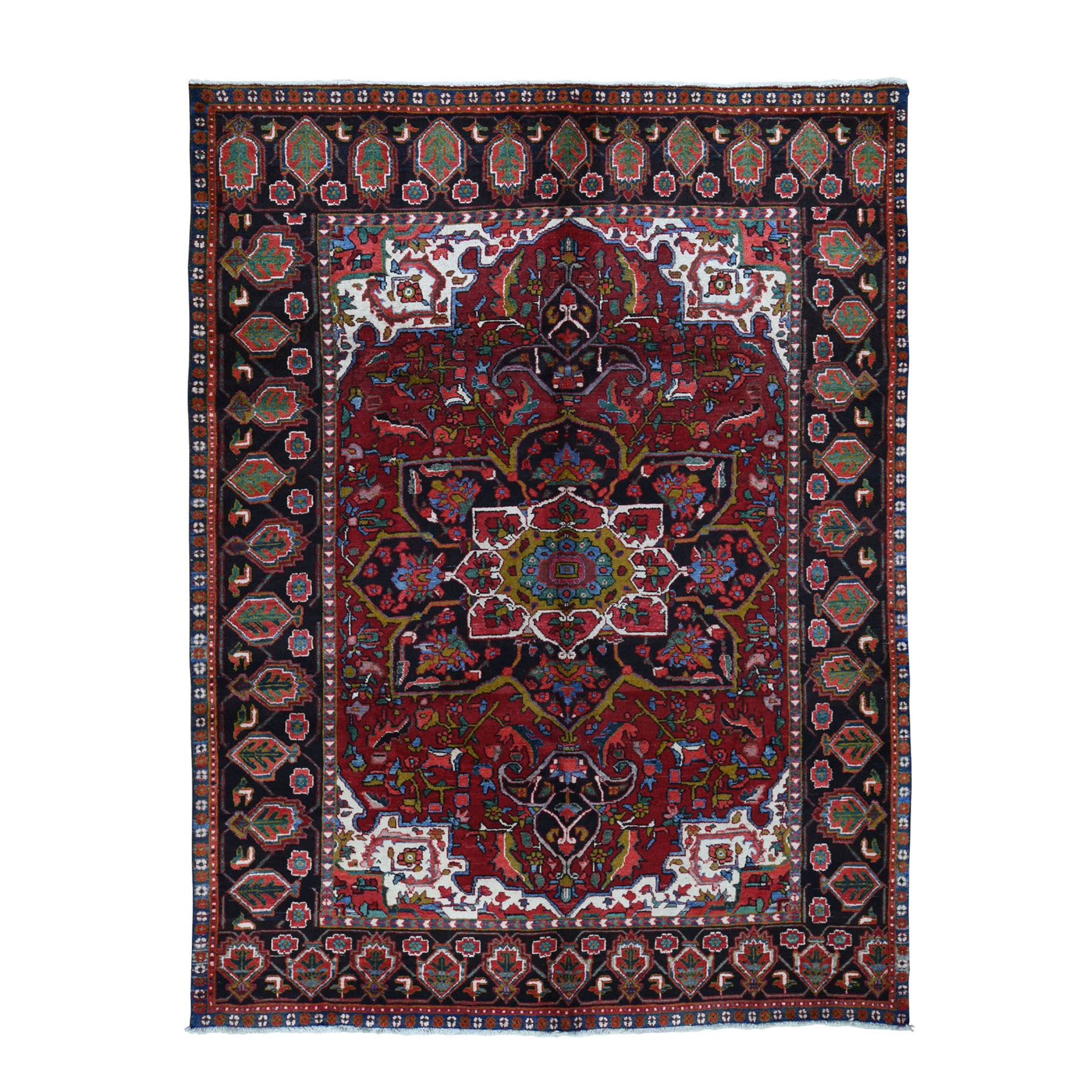 "7'2""x10'3"" Red Semi Antique Persian Heriz Flower Design Thick and Plush Hand Knotted Oriental Rug"