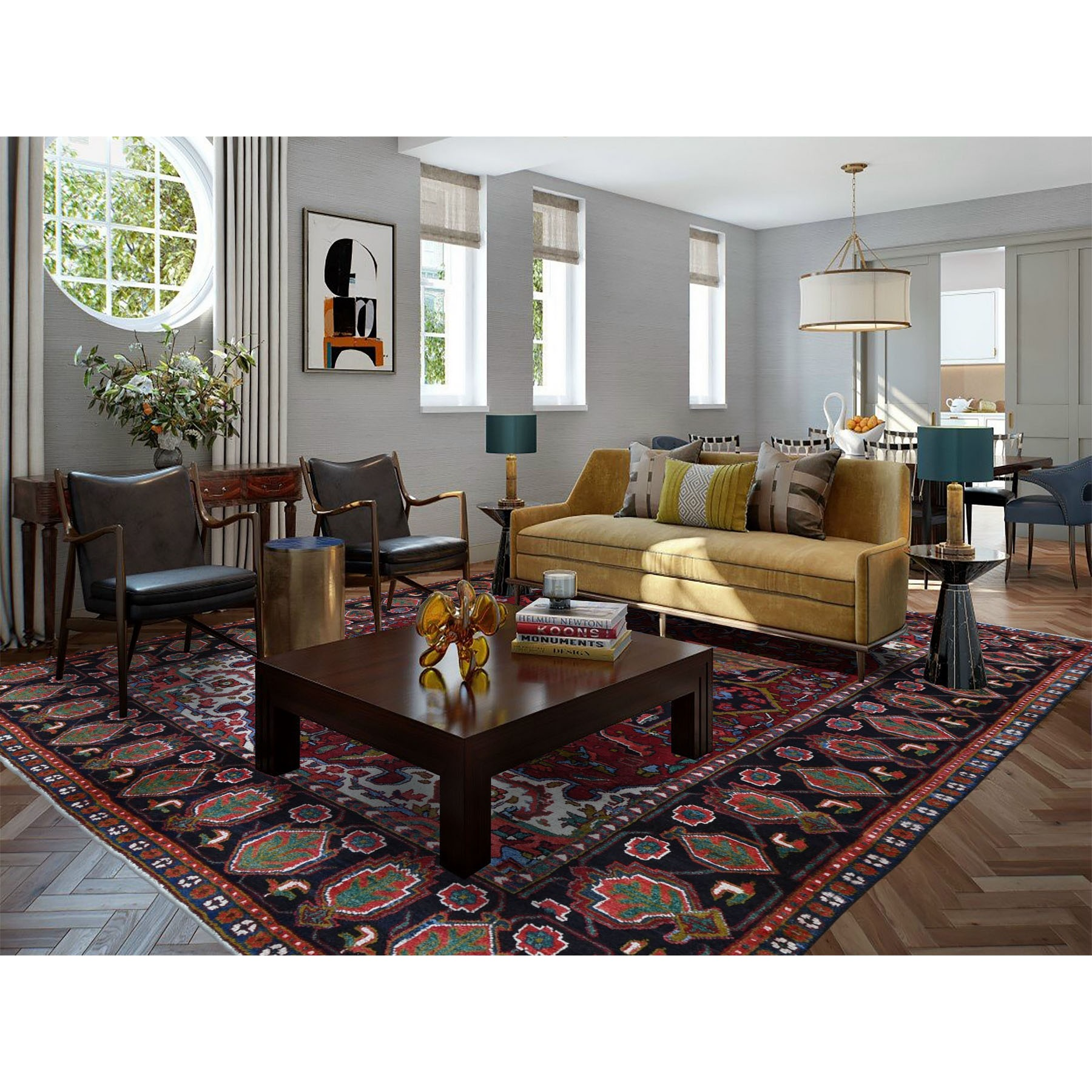 """7'2""""x10'3"""" Red Semi Antique Persian Heriz Flower Design Thick and Plush Hand Knotted Oriental Rug"""