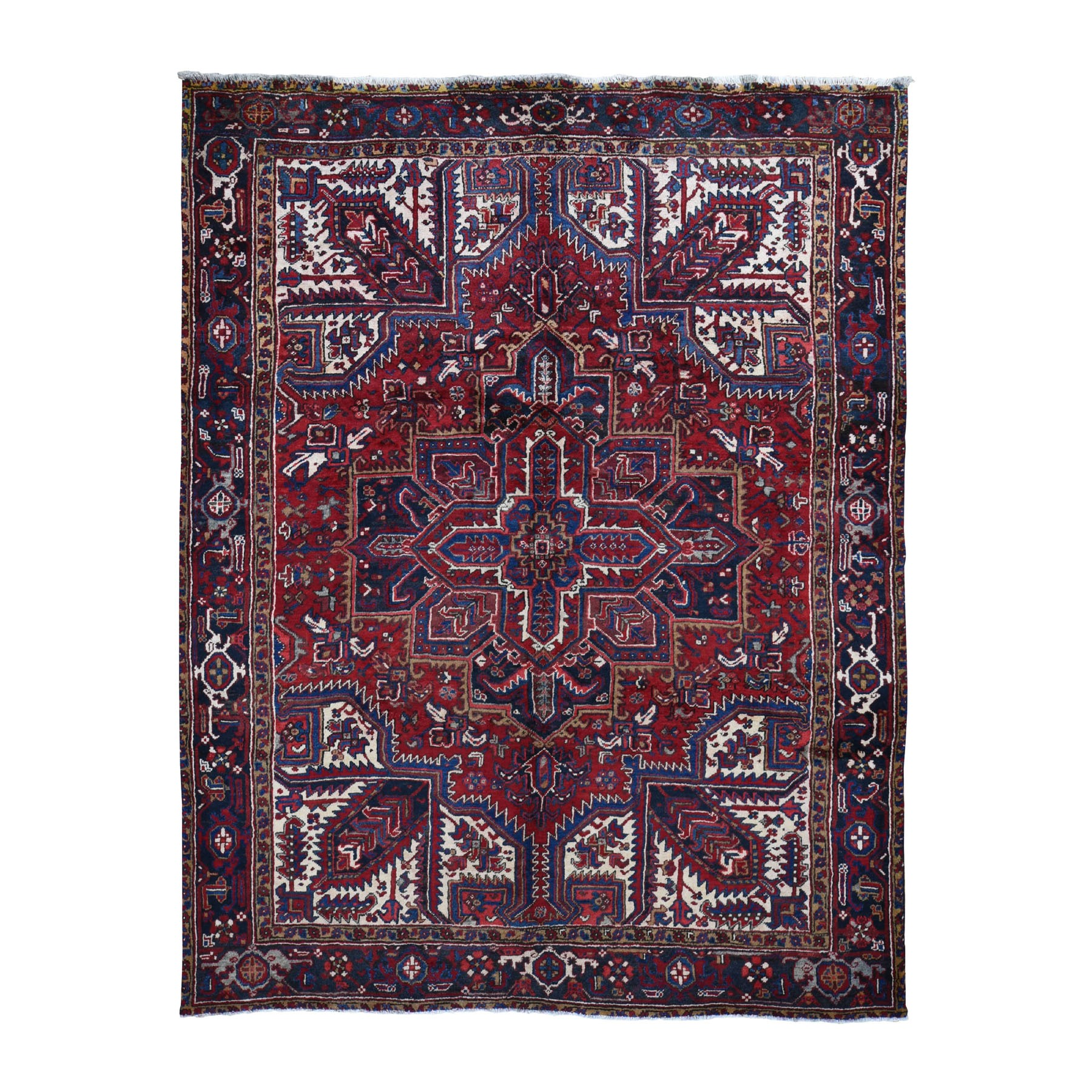 "7'3""x10'4"" Red Semi Antique Persian Heriz Geometric Design Thick and Plush Hand Knotted Oriental Rug"