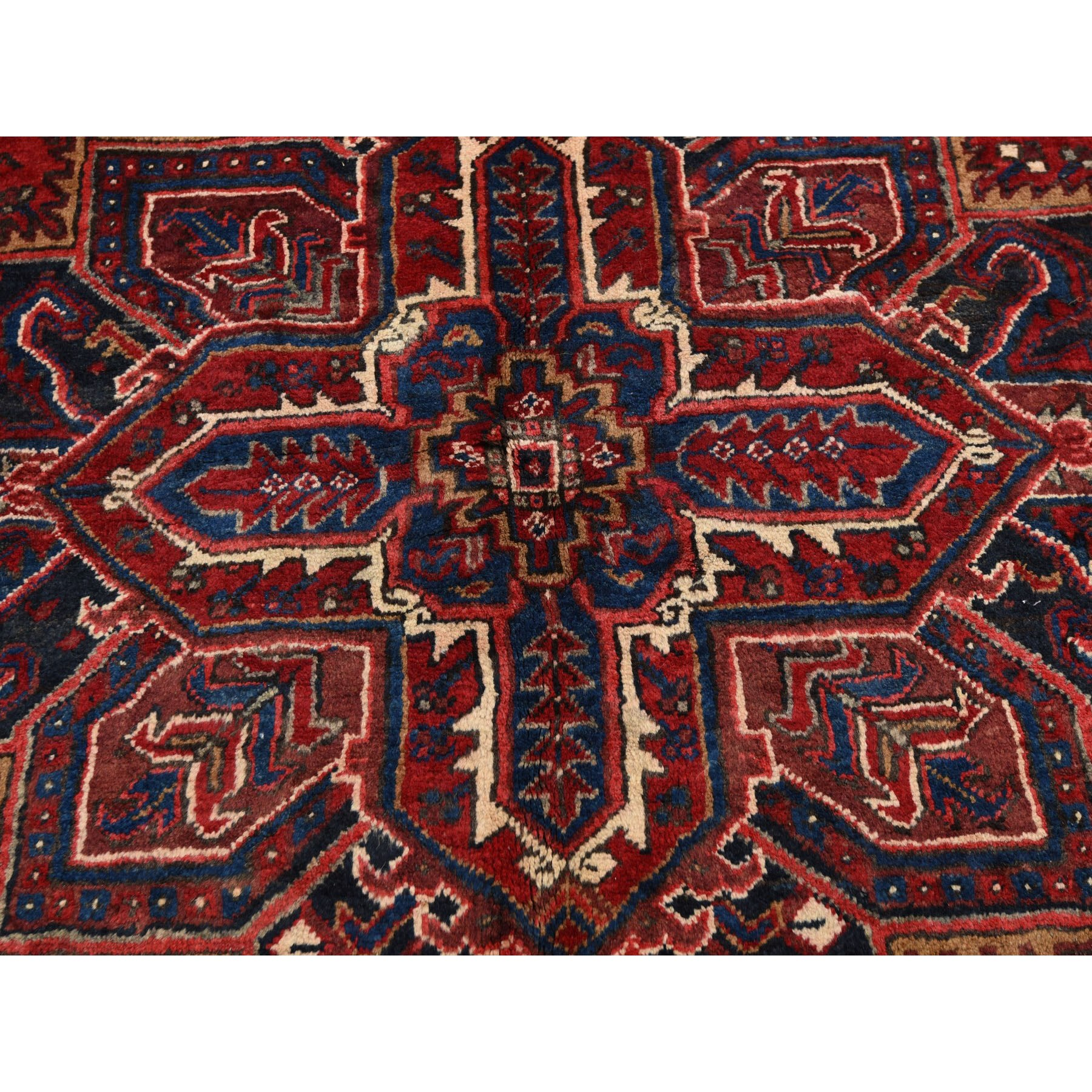 """7'3""""x10'4"""" Red Semi Antique Persian Heriz Geometric Design Thick and Plush Hand Knotted Oriental Rug"""