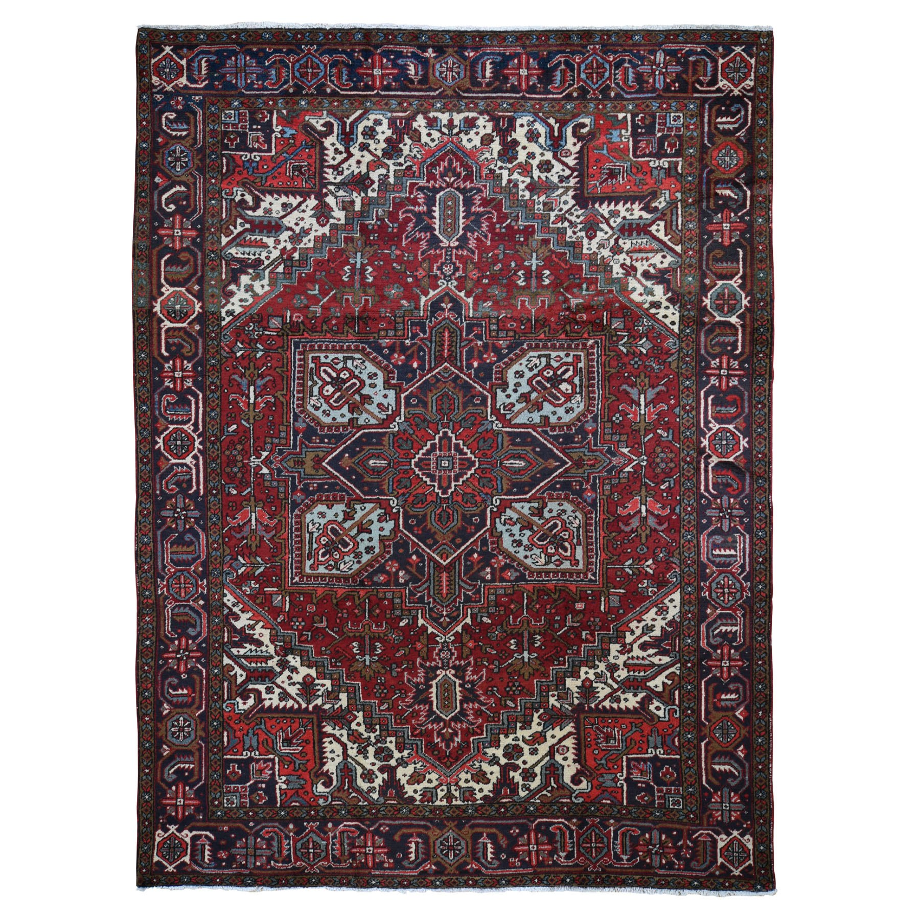 "9'1""X11'7"" Red Semi Antique Persian Heriz Geometric Design Thick And Plush Hand Knotted Oriental Rug moad8cdc"