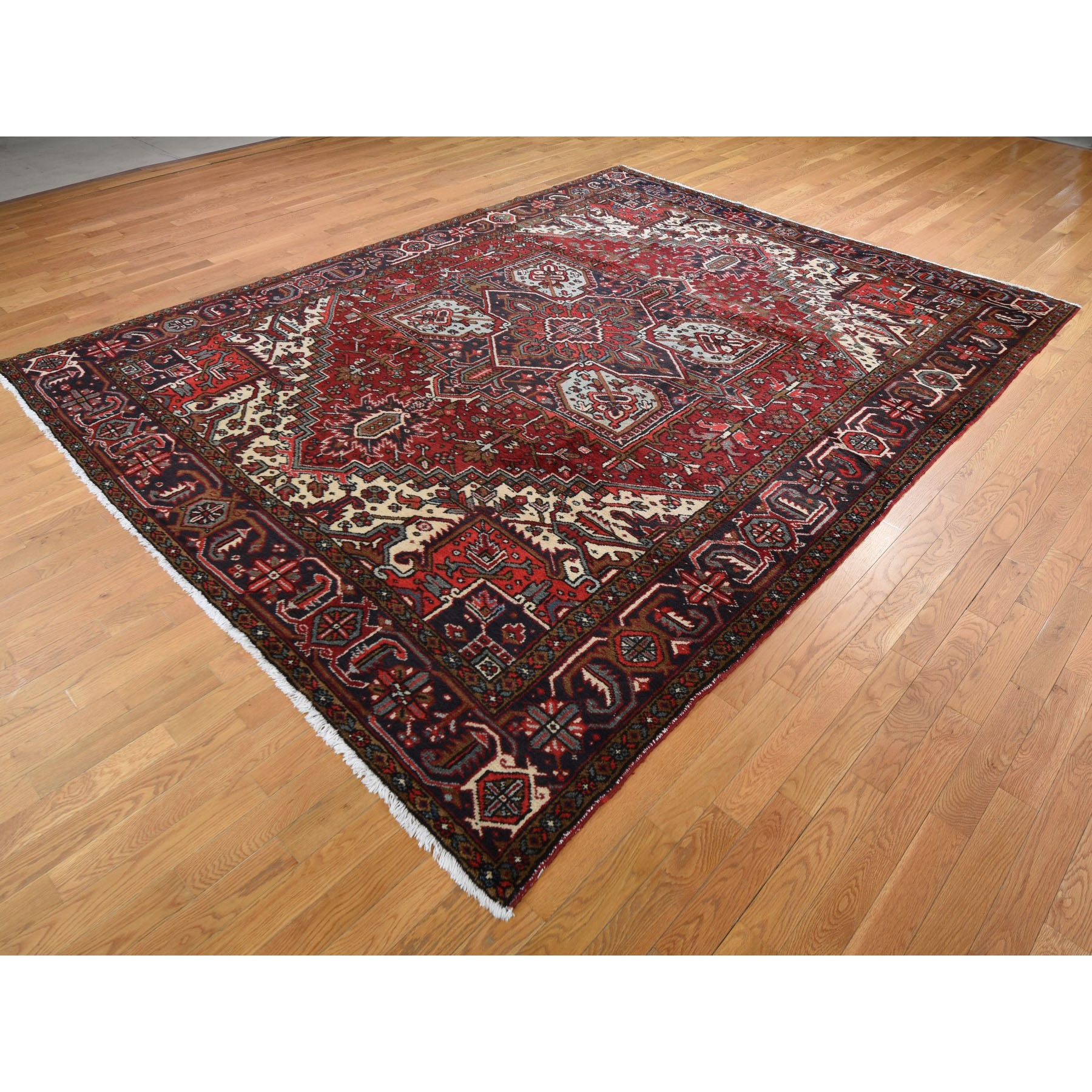 "9'1""x11'7"" Red Semi Antique Persian Heriz Geometric Design Thick and Plush Hand Knotted Oriental Rug"